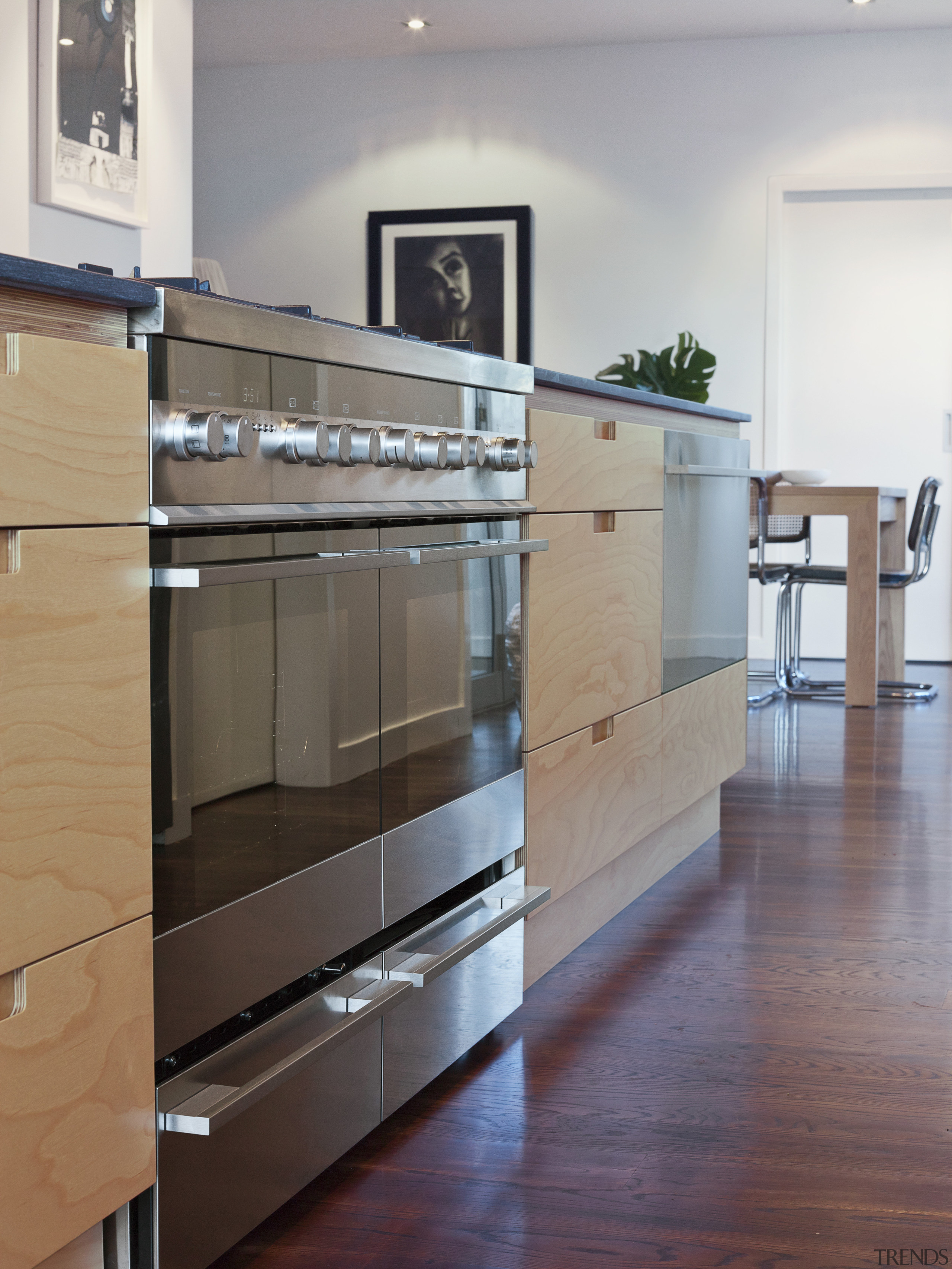 Chefs choice  Natalie Du Bois chooses Fisher cabinetry, countertop, floor, flooring, furniture, glass, hardwood, interior design, kitchen, room, wood, wood flooring, gray