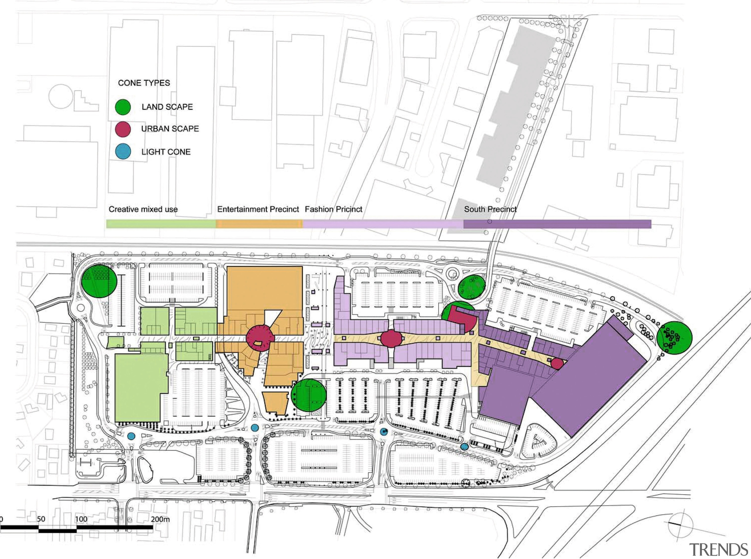A view of the Sylvia Park shopping complex. area, diagram, floor plan, line, plan, product design, residential area, urban design, white