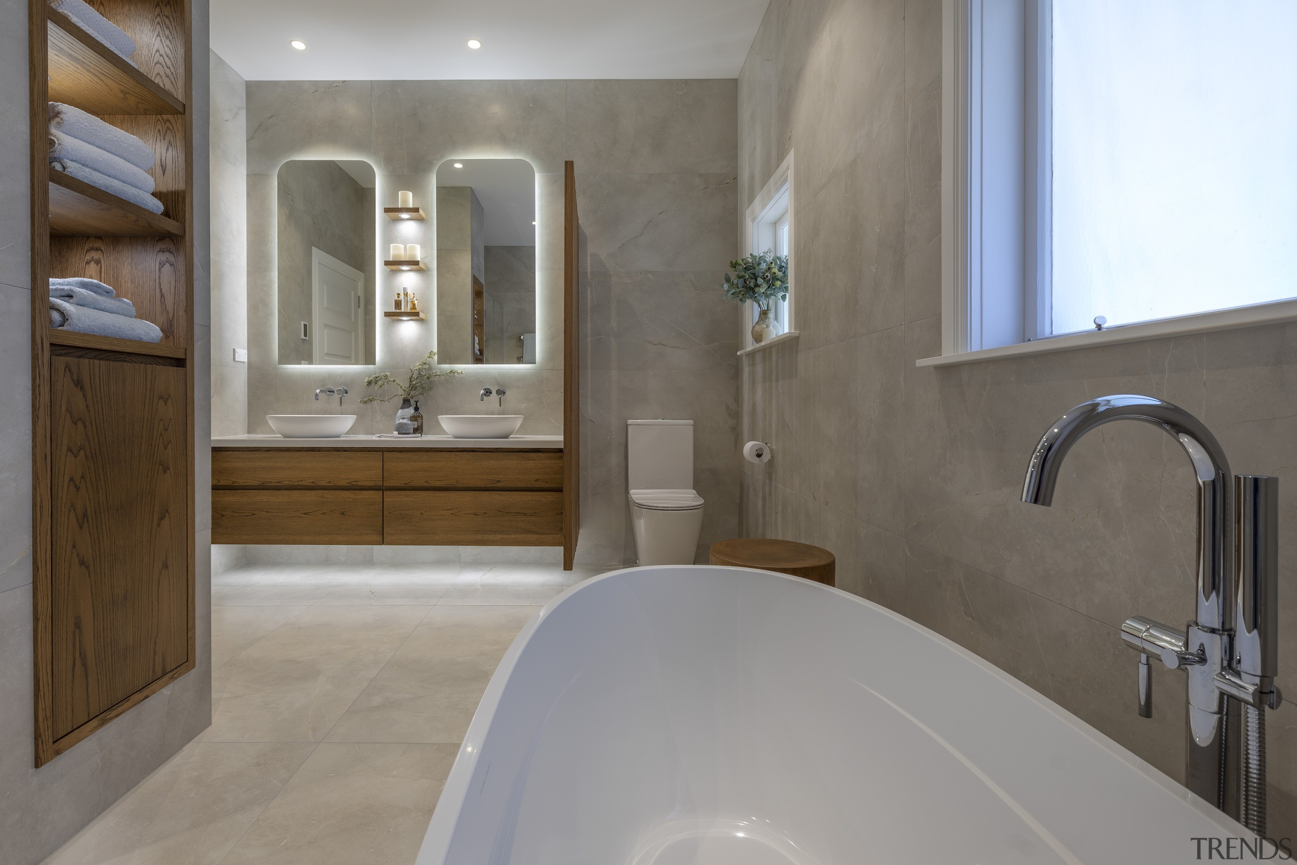 Kira Gray, Fyfe Kitchens – Highly Commended – architecture, bathroom, bathtub, building, estate, floor, flooring, furniture, home, house, interior design, marble, plumbing fixture, property, real estate, room, sink, tap, tile, wall, gray