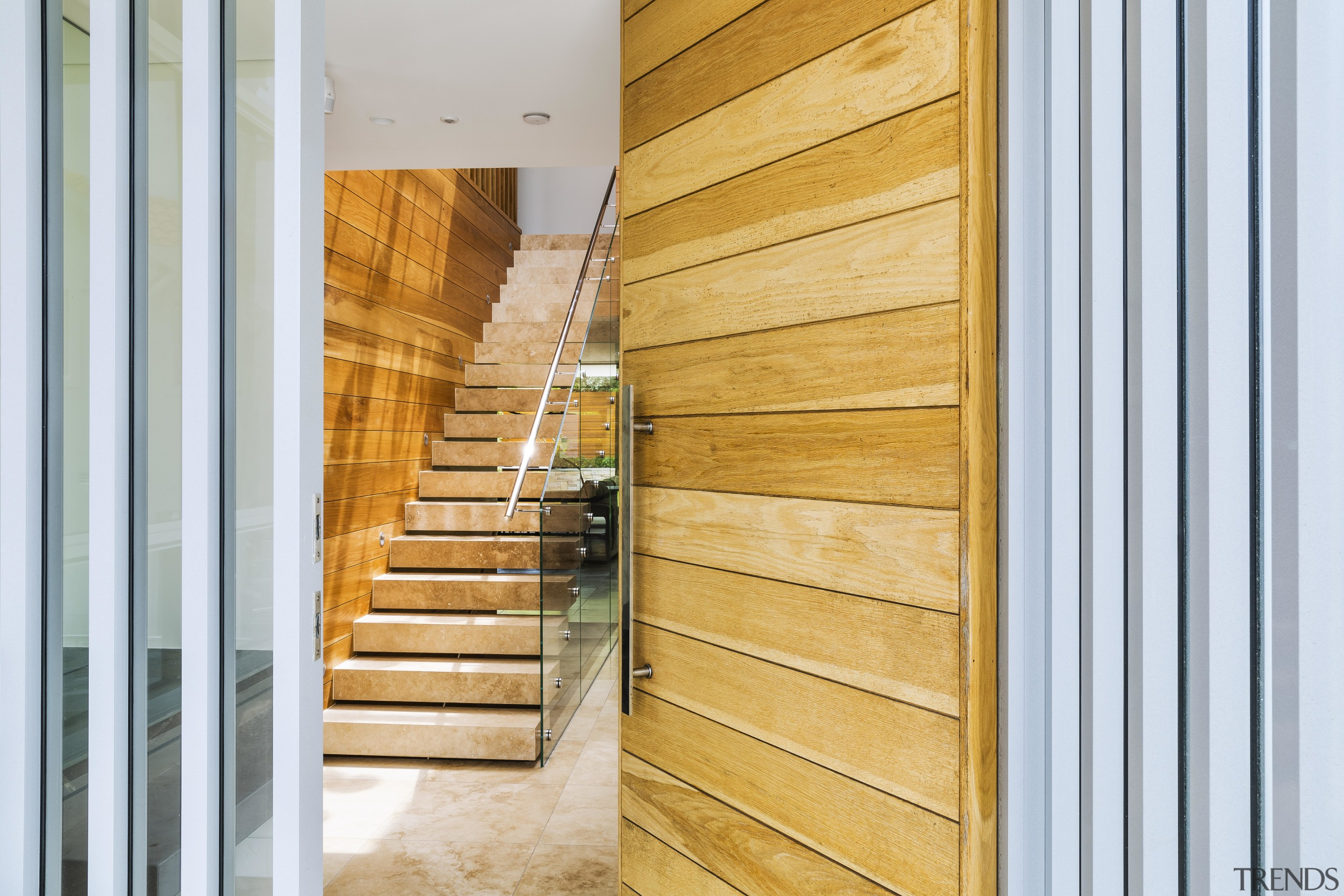 A timber front door provides an early touch architecture, home, house, interior design, wood, Timber, stairway, Giles & Tribe Architecture, Mark Broadley