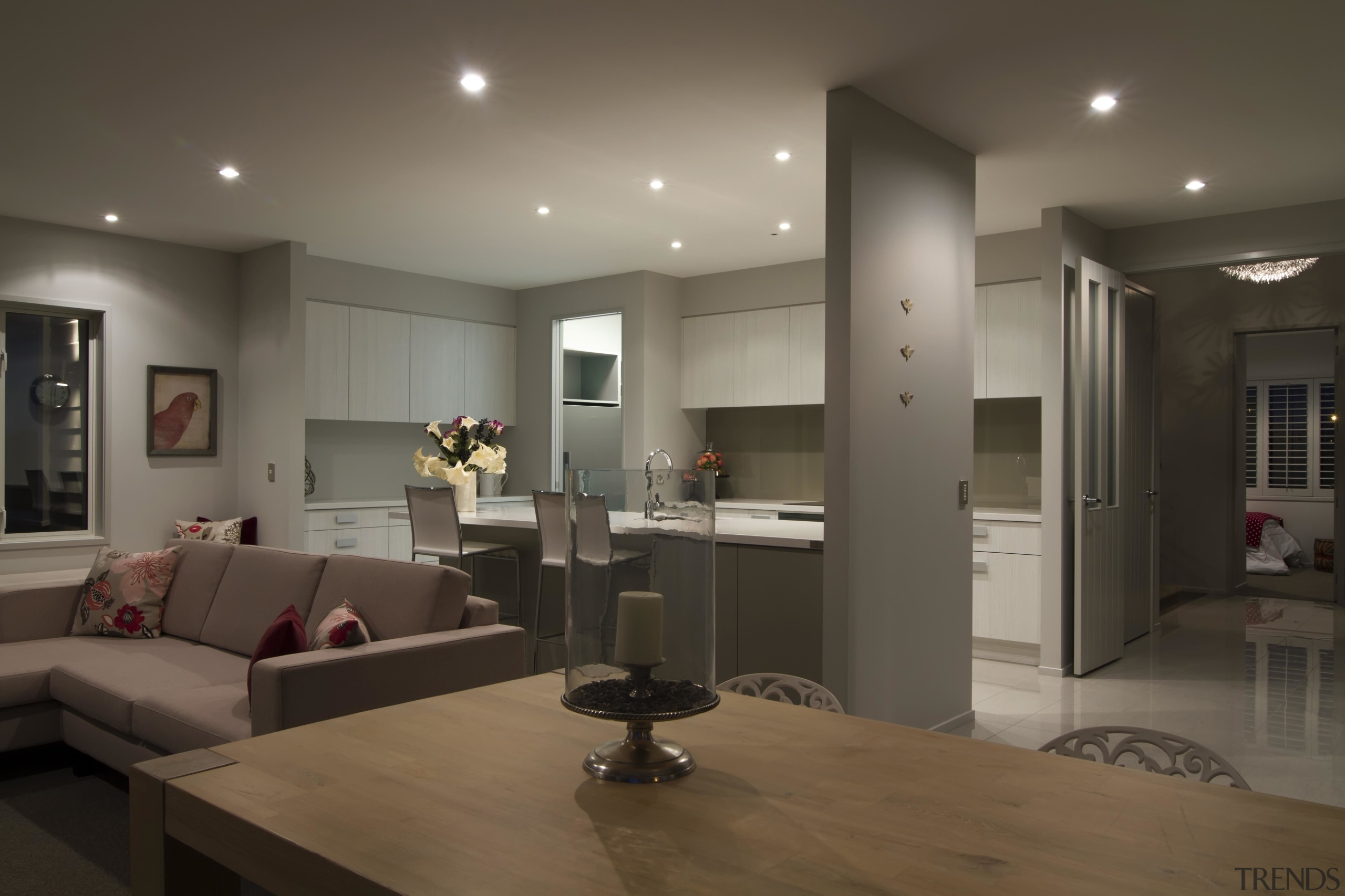Grey living and dining area in Lincoln - ceiling, floor, flooring, interior design, living room, room, gray, black