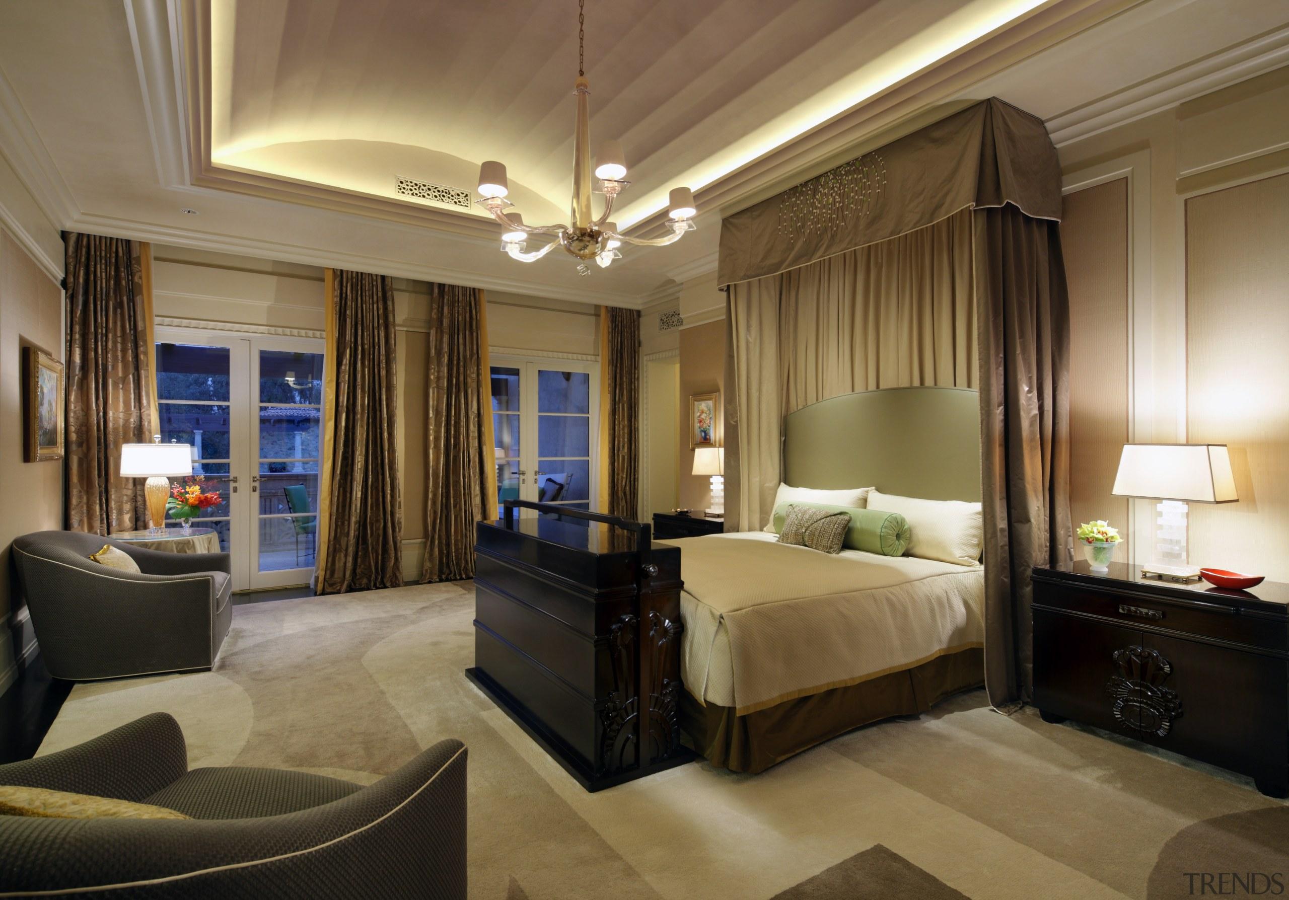 Custom design gives this master suite a lavish bedroom, ceiling, estate, interior design, room, suite, brown, black