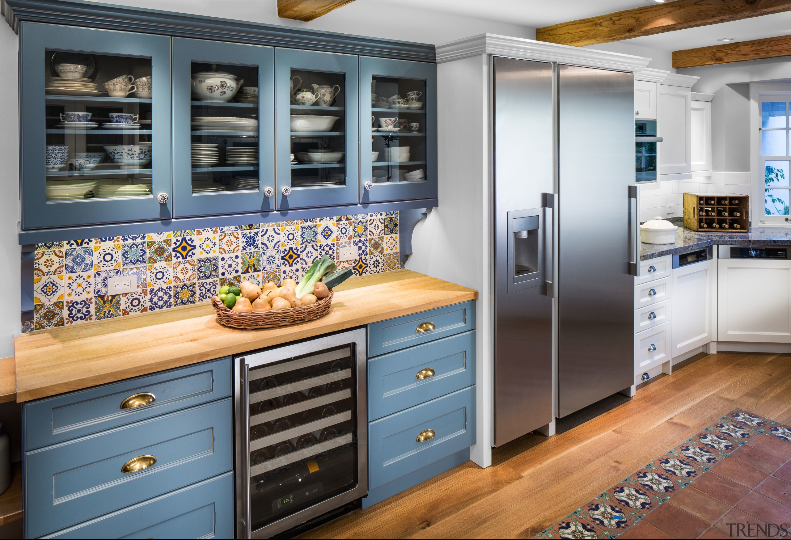 A new blue hutch in this remodeled kitchen cabinetry, countertop, cuisine classique, home appliance, interior design, kitchen, refrigerator, room, gray