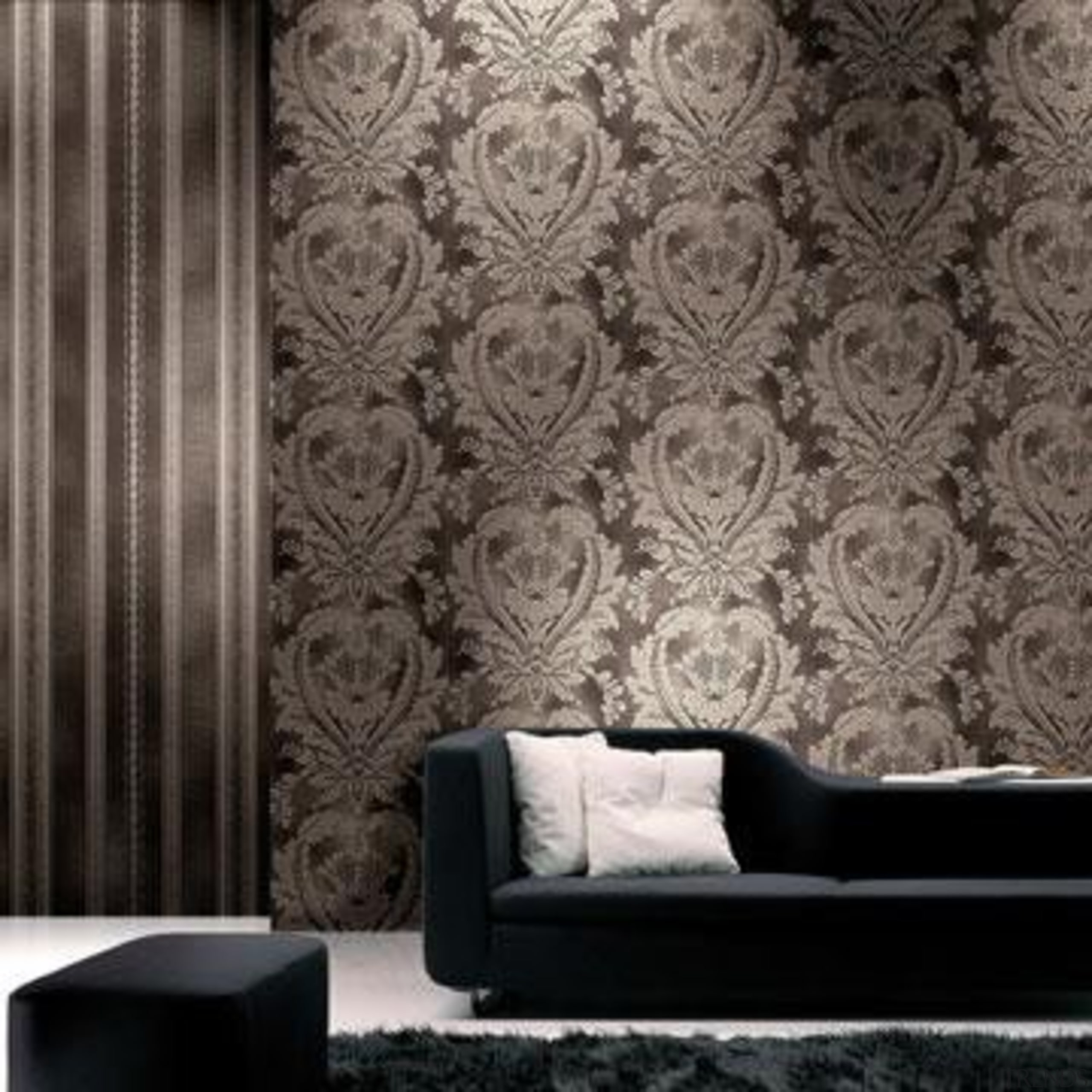 Modern Style Range - black and white   black and white, couch, curtain, decor, interior design, living room, pattern, wall, wallpaper, gray, black
