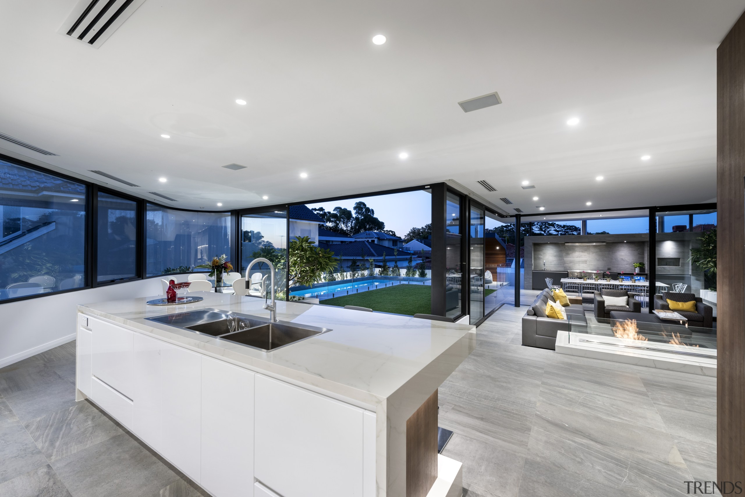This kitchen links to indoor and outdoor living architecture, countertop, estate, house, interior design, kitchen, property, real estate, gray