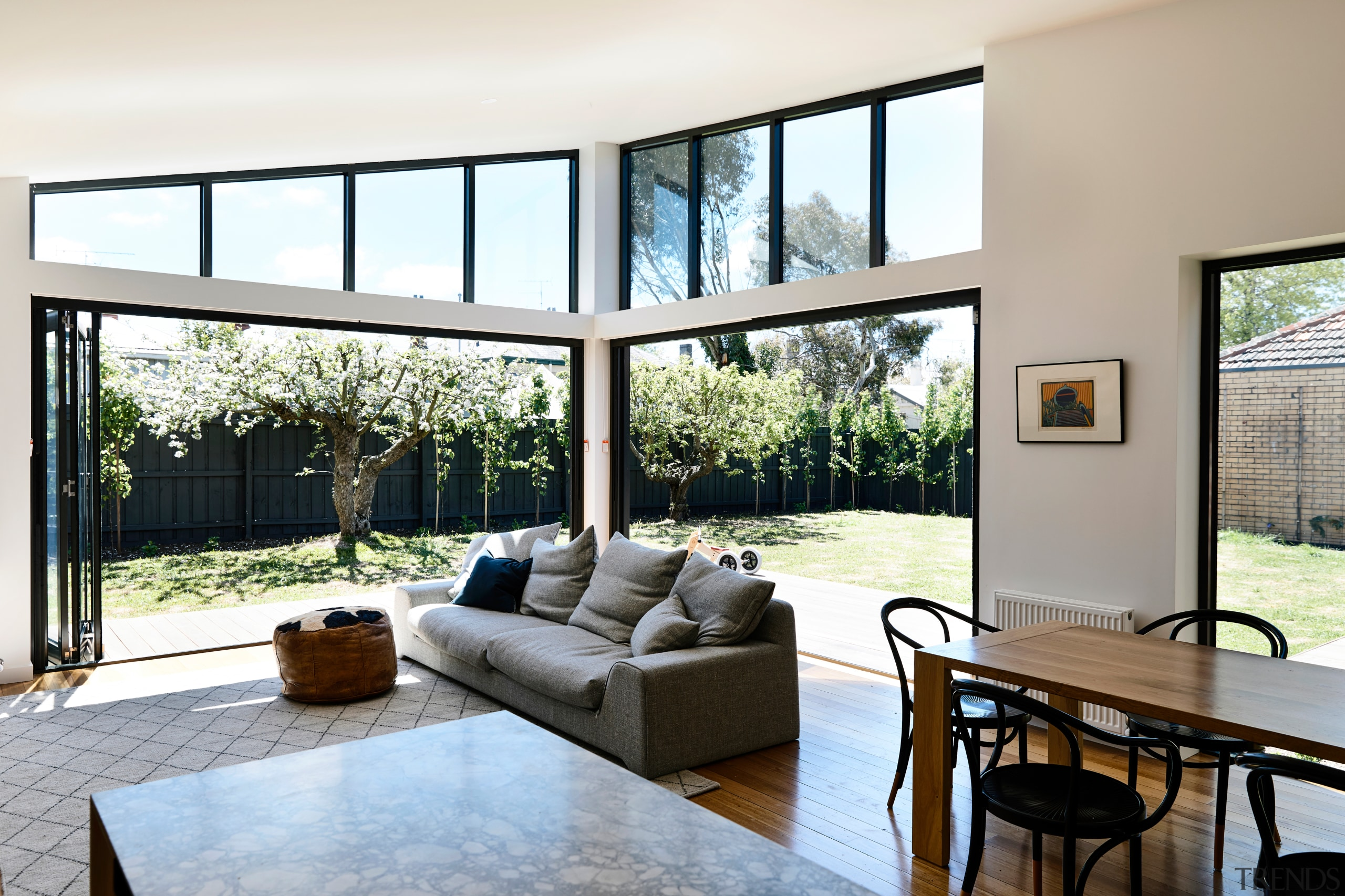 On this renovation and extension project by Porter architecture, home, house, interior design, living room, bifold window, white, Porter Architecture