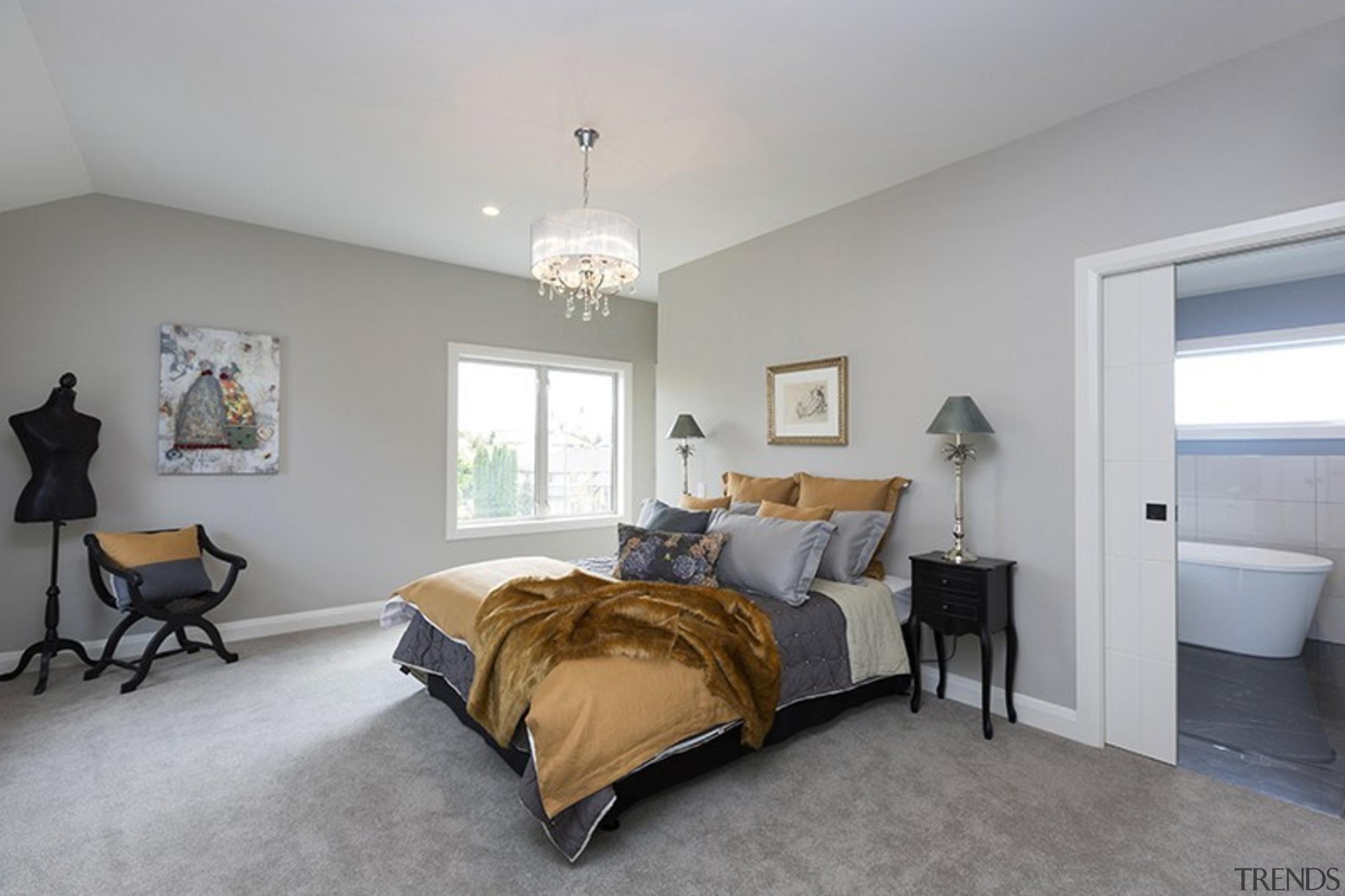 Landmark Homes Boulevard Design Master Bedroom - Landmark bed frame, bedroom, ceiling, estate, home, interior design, property, real estate, room, window, gray