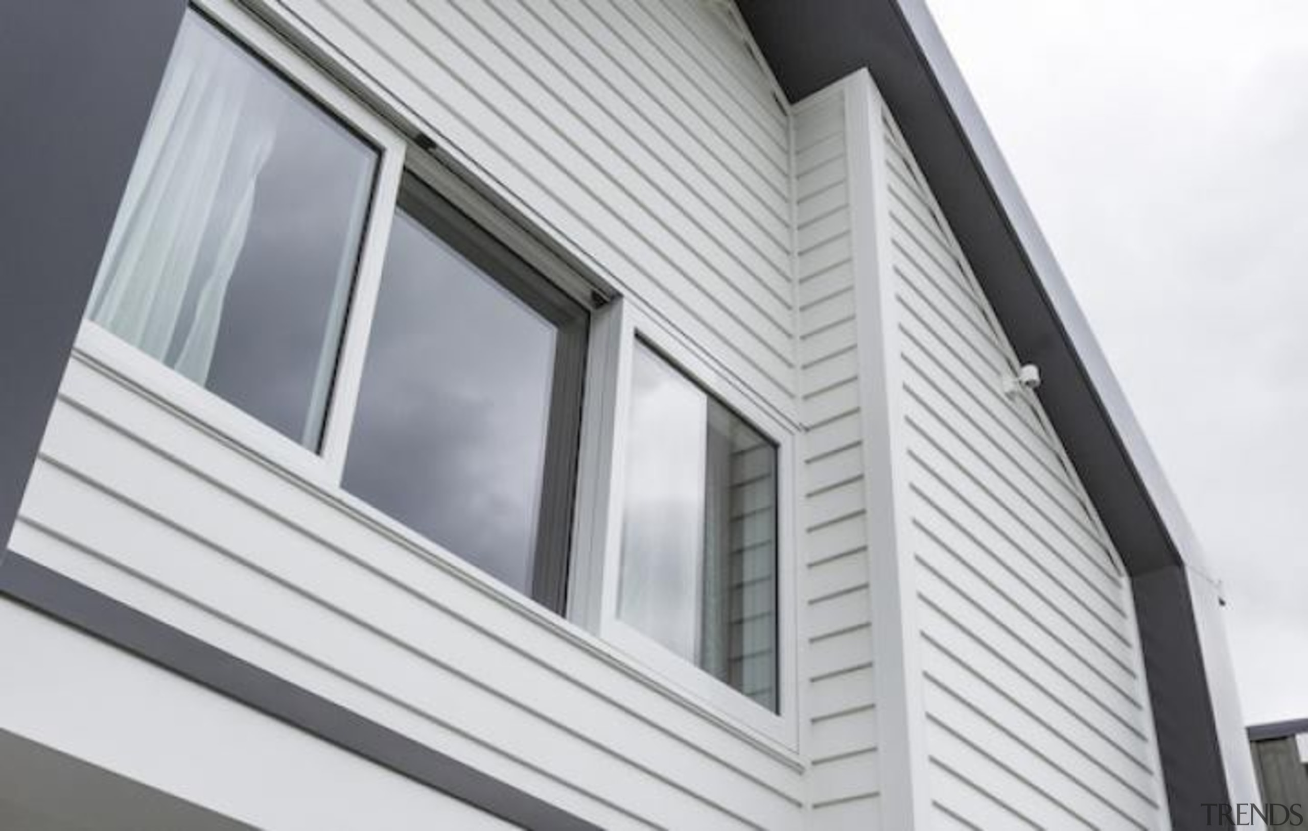 Simpler. Faster. Proven Weathertight. - A-lign Concealed Fix angle, architecture, building, daylighting, facade, home, house, property, roof, sash window, siding, window, white, gray