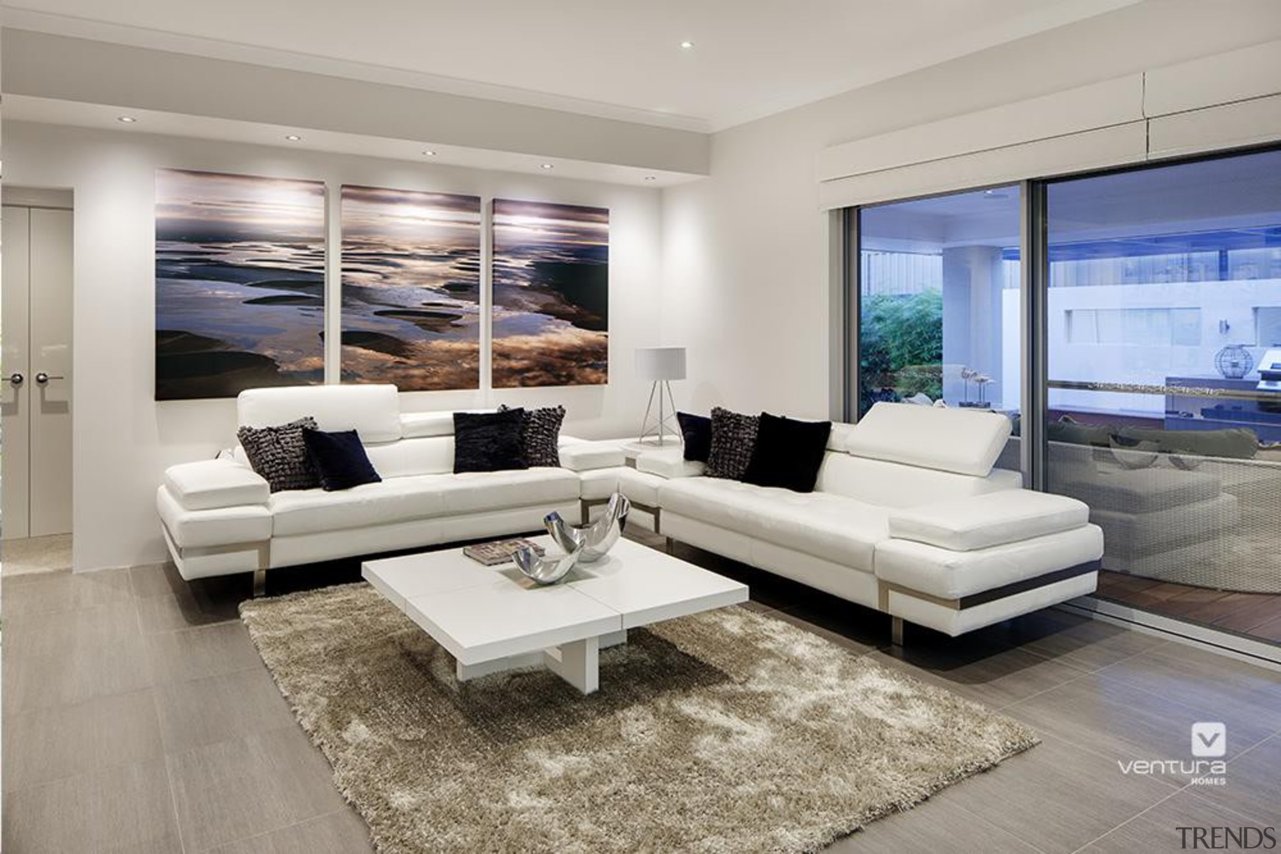 Living Room Design. - The Temptation Display Home couch, floor, furniture, home, interior design, living room, property, real estate, room, gray