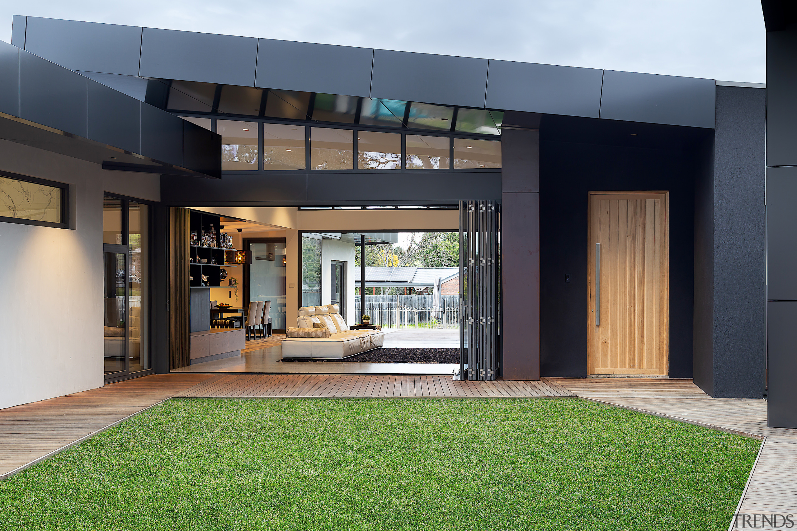 Wolf Architects  – Winner – 2019 TIDA Australia architecture, artificial turf, building, ceiling, courtyard, design, door, estate, facade, floor, flooring, furniture, glass, grass, green, home, house, interior design, lawn, property, real estate, room, window, black