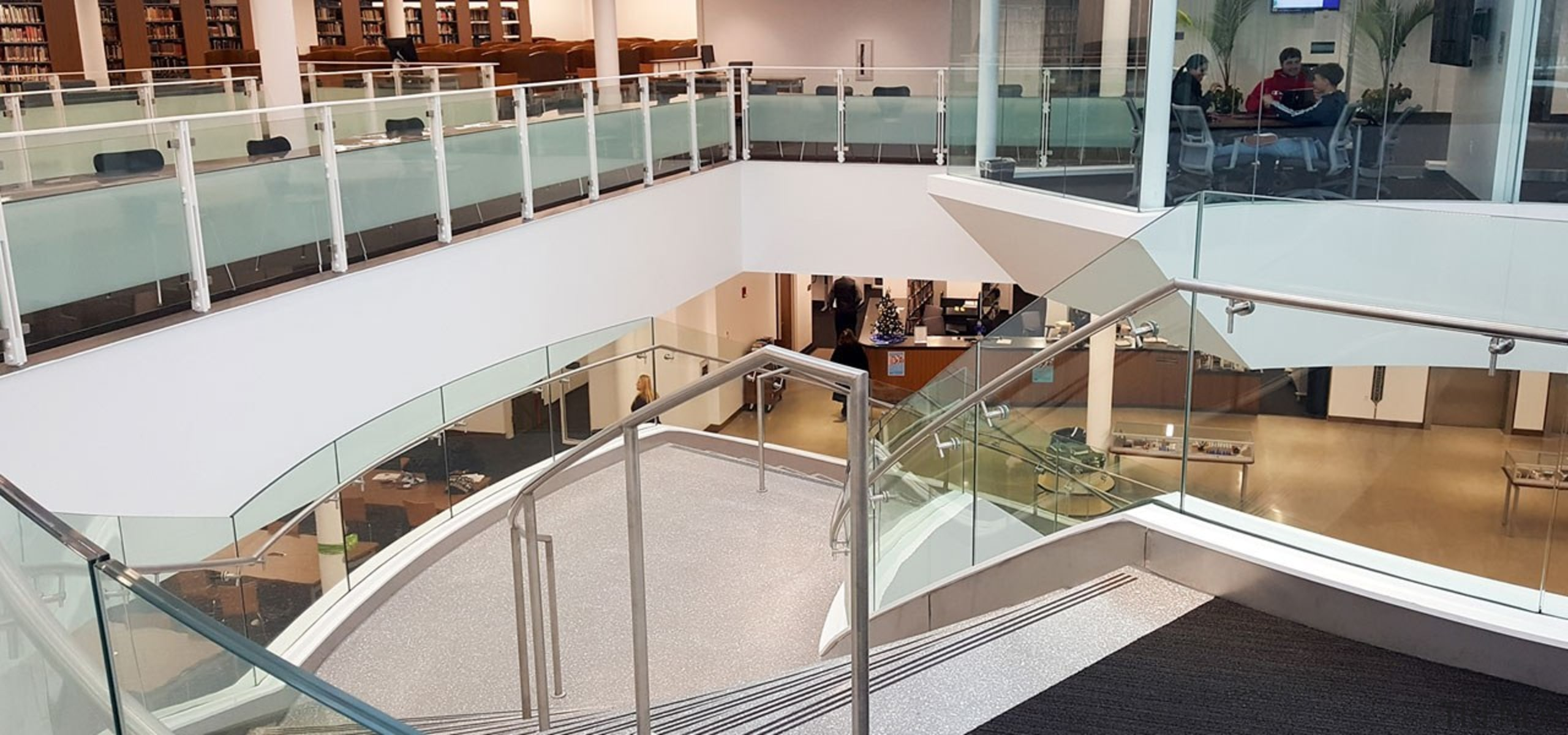 Suffolk County Community College 5 - architecture | architecture, building, daylighting, floor, glass, handrail, interior design, material property, mixed-use, property, real estate, shopping mall, stairs, urban design, gray