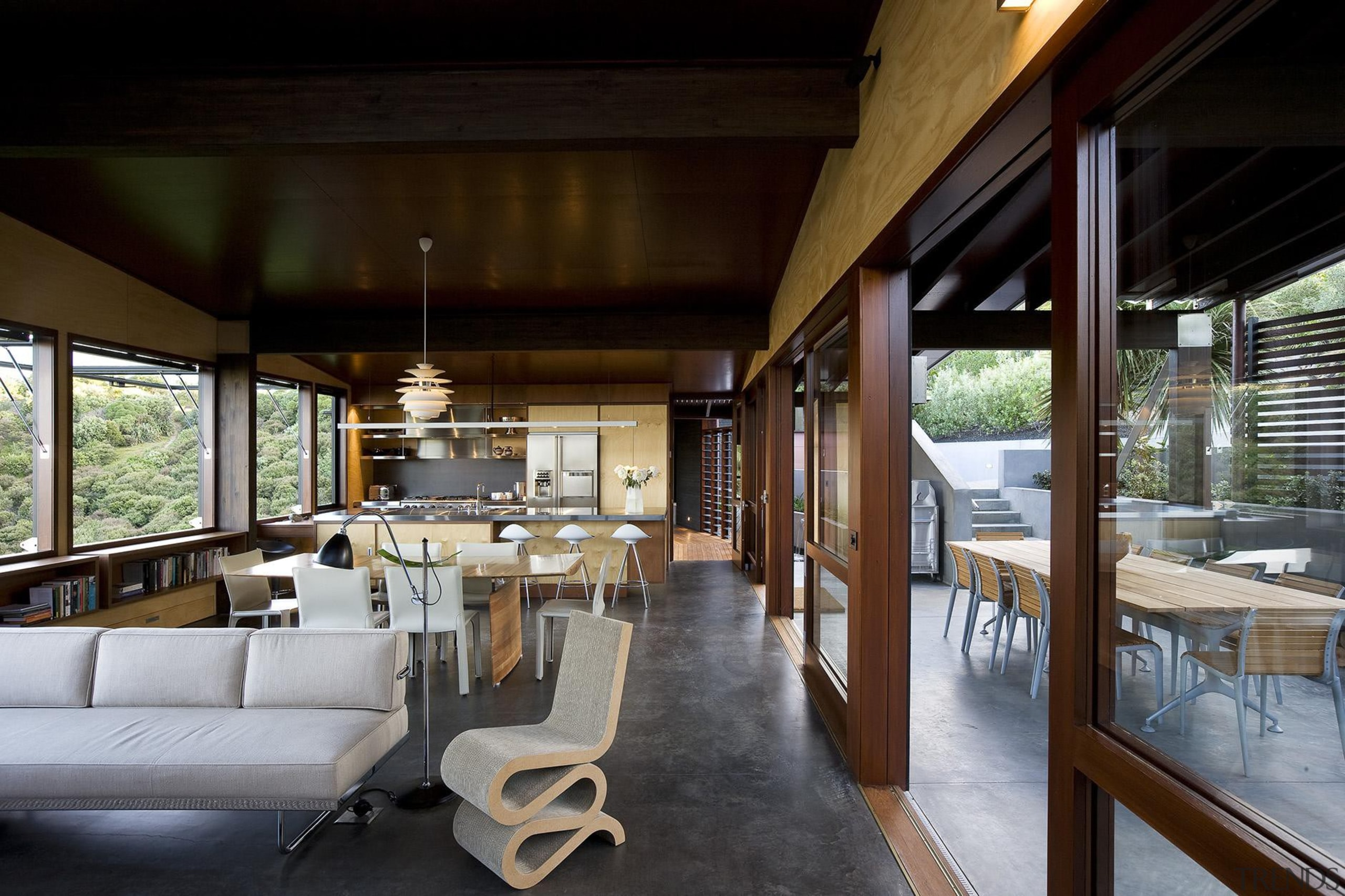 Waiheke Island, Auckland - Owhanake Bay - architecture architecture, house, interior design, real estate, restaurant, table, black, gray