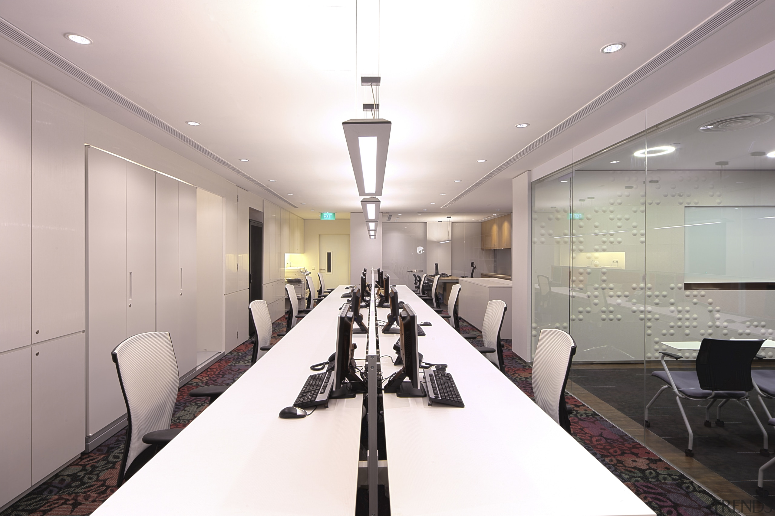 Contemporary offices of  the Real Estate Develoer's ceiling, conference hall, interior design, office, real estate, white
