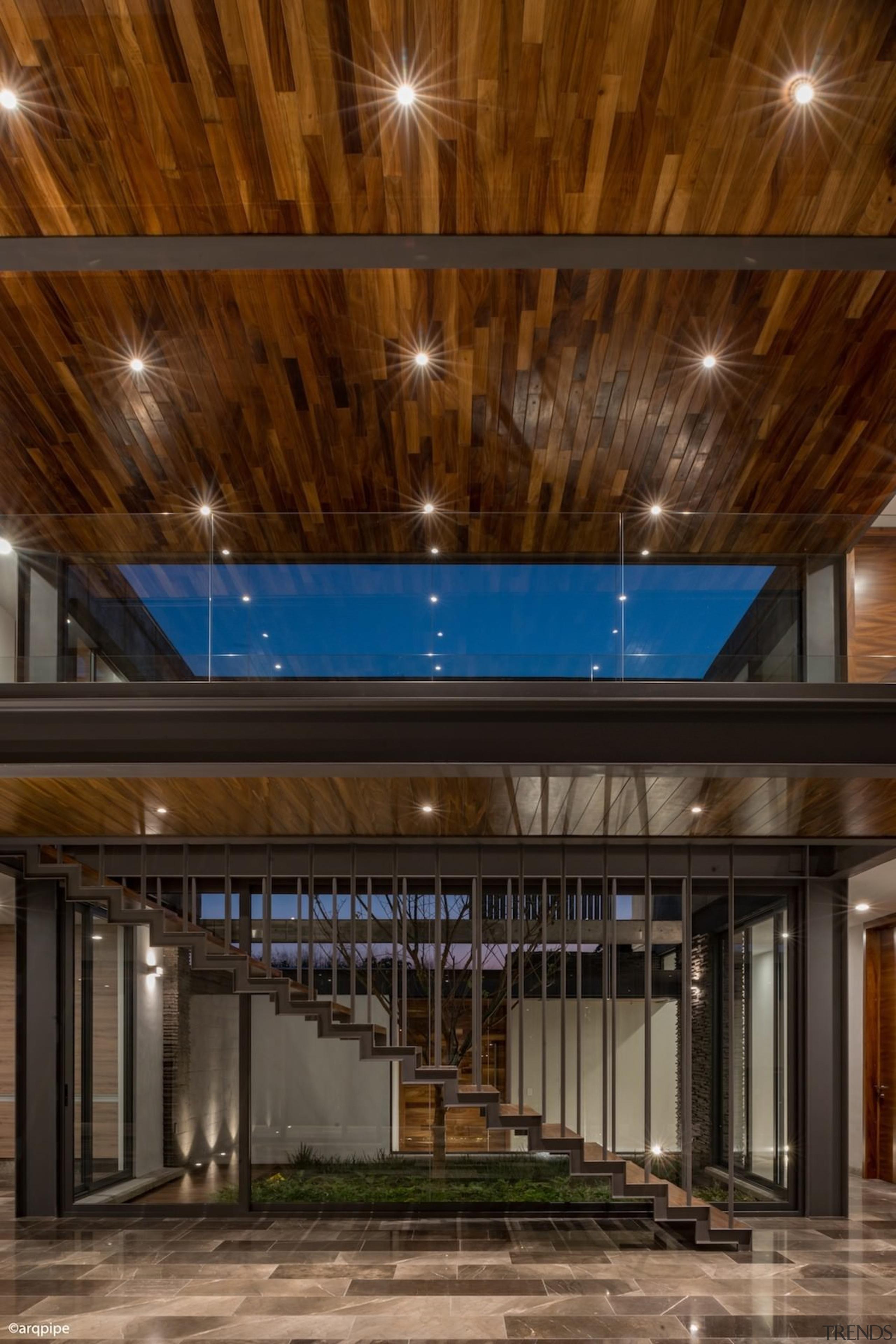 Colima home/Di Frenna Arquitectos - Colima home/Di Frenna architecture, ceiling, daylighting, interior design, lighting, lobby, brown, black