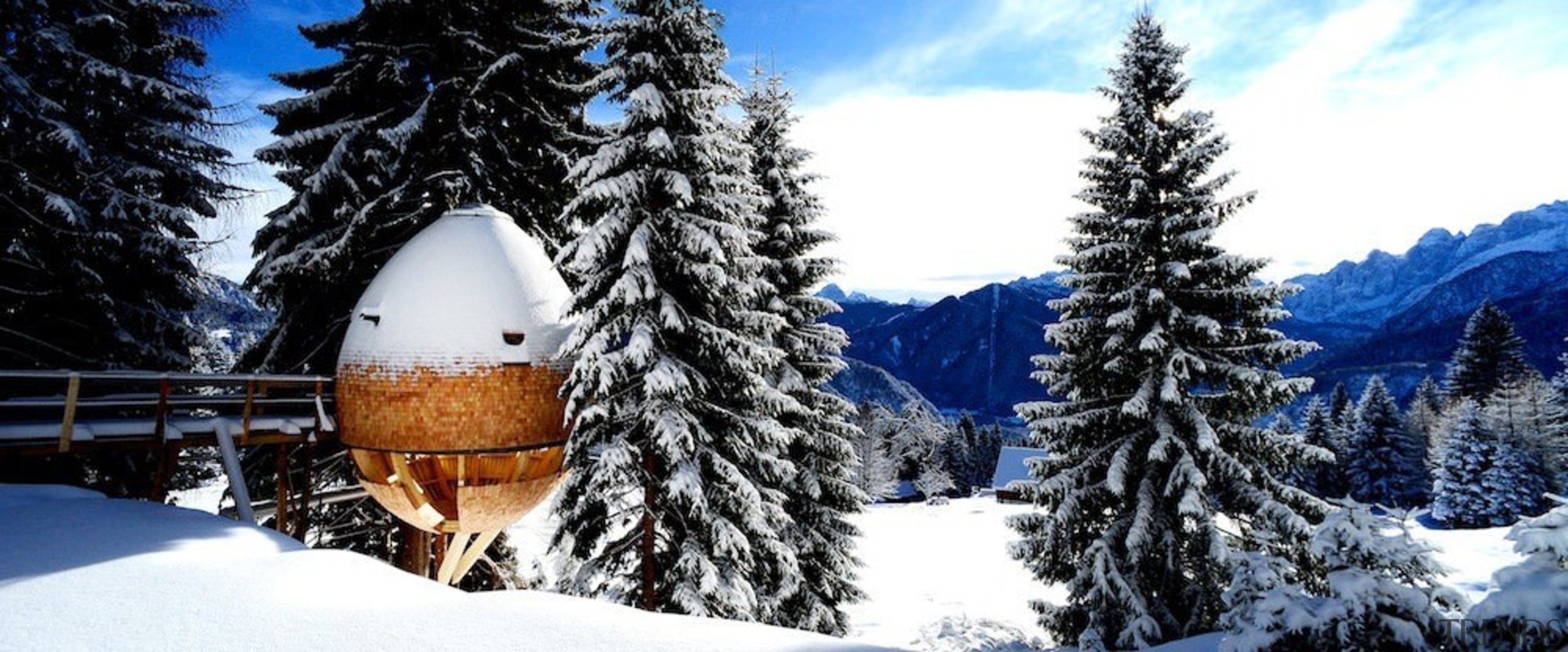 You access the pod via an elevated walkway alps, conifer, fir, freezing, mountain, mountain range, pine family, sky, snow, spruce, tree, winter, white, black