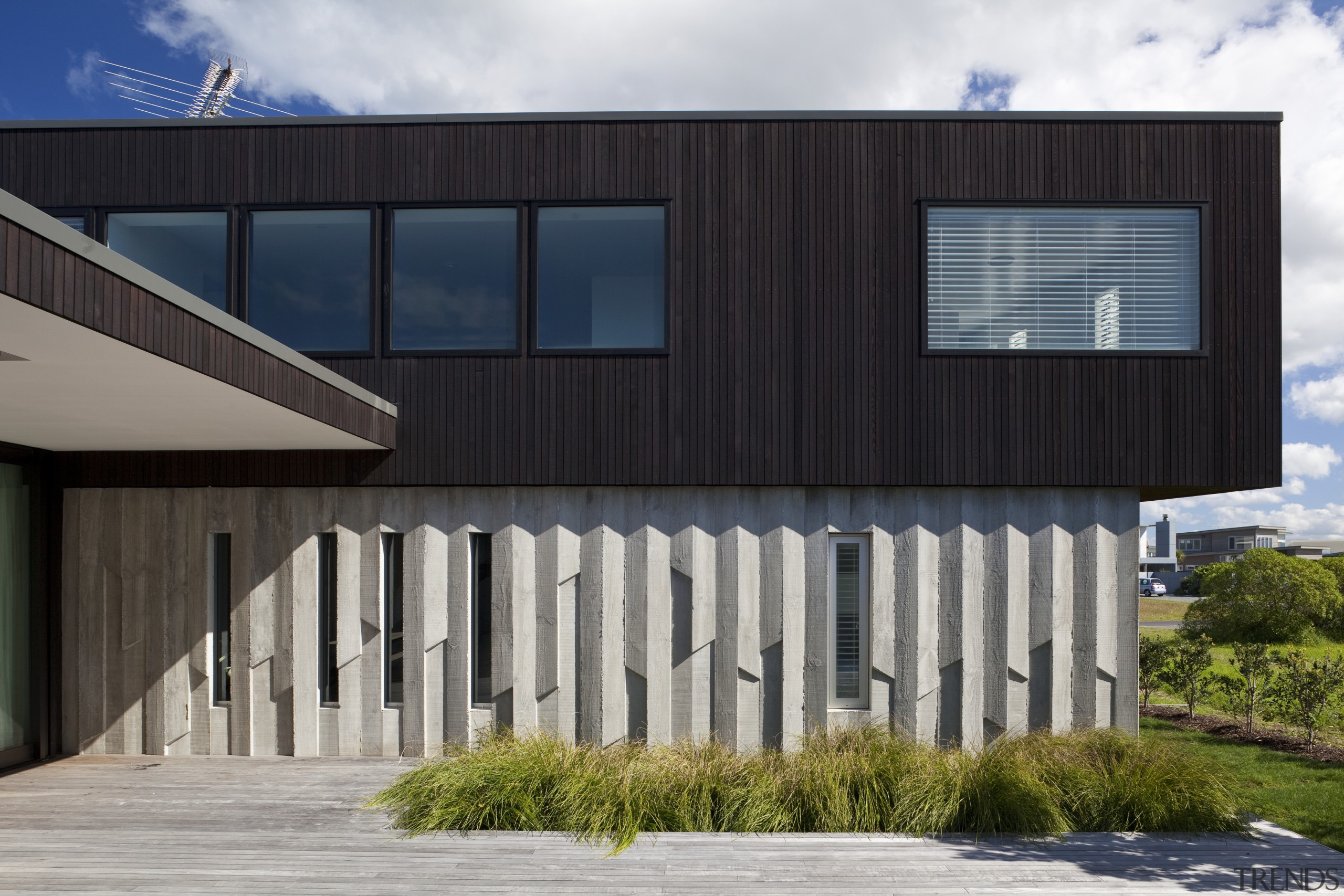 Ponting Fitzgerald-designed beach house - Ponting Fitzgerald-designed beach architecture, building, commercial building, corporate headquarters, elevation, facade, home, house, real estate, residential area, siding, structure, black, gray