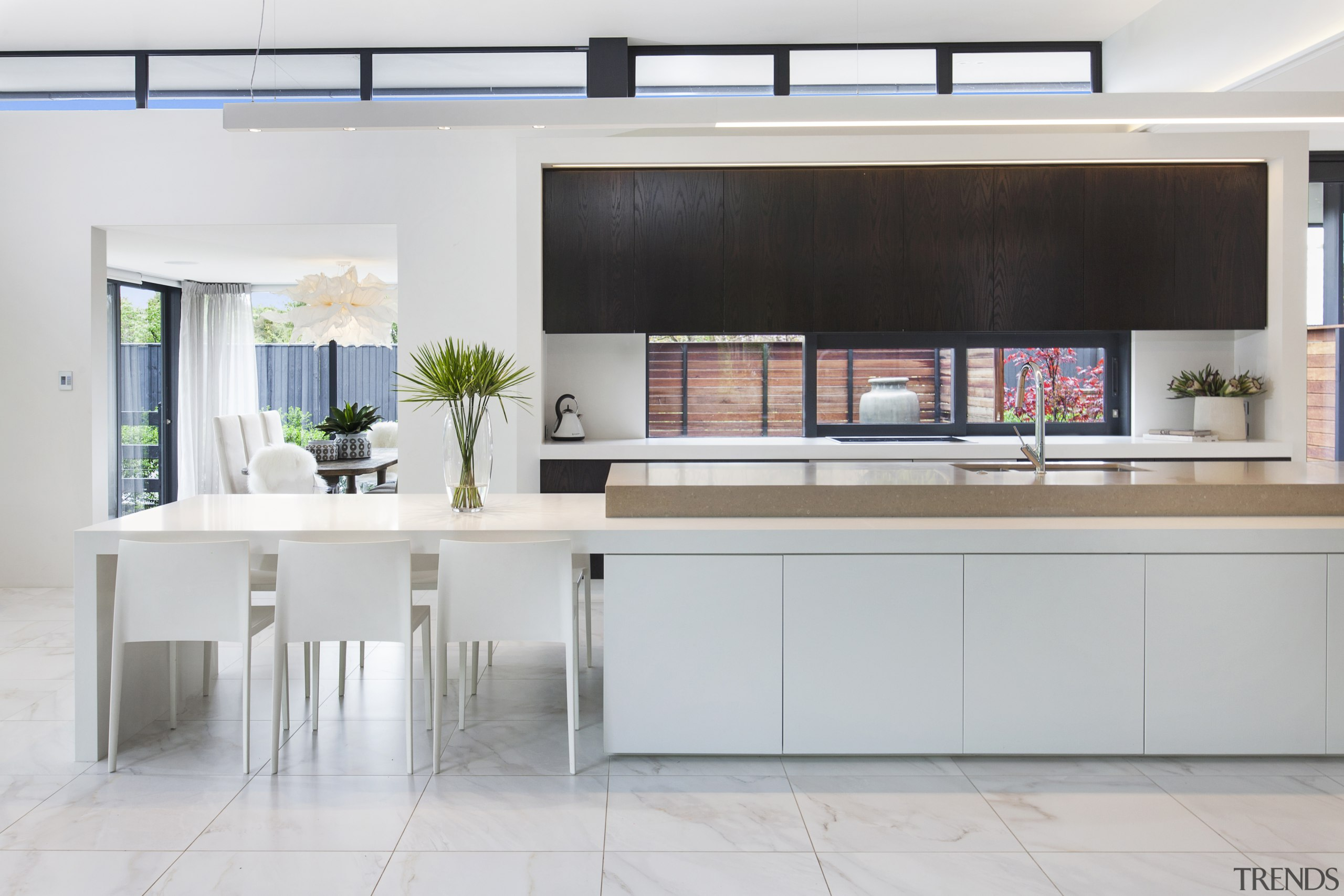 This kitchen features a window as a splashback, architecture, kitchen, cabinetry, countertop, floor, flooring, furniture, home, house, interior design, kitchen, dining table, tile, white, gray, O'Neil Architecture