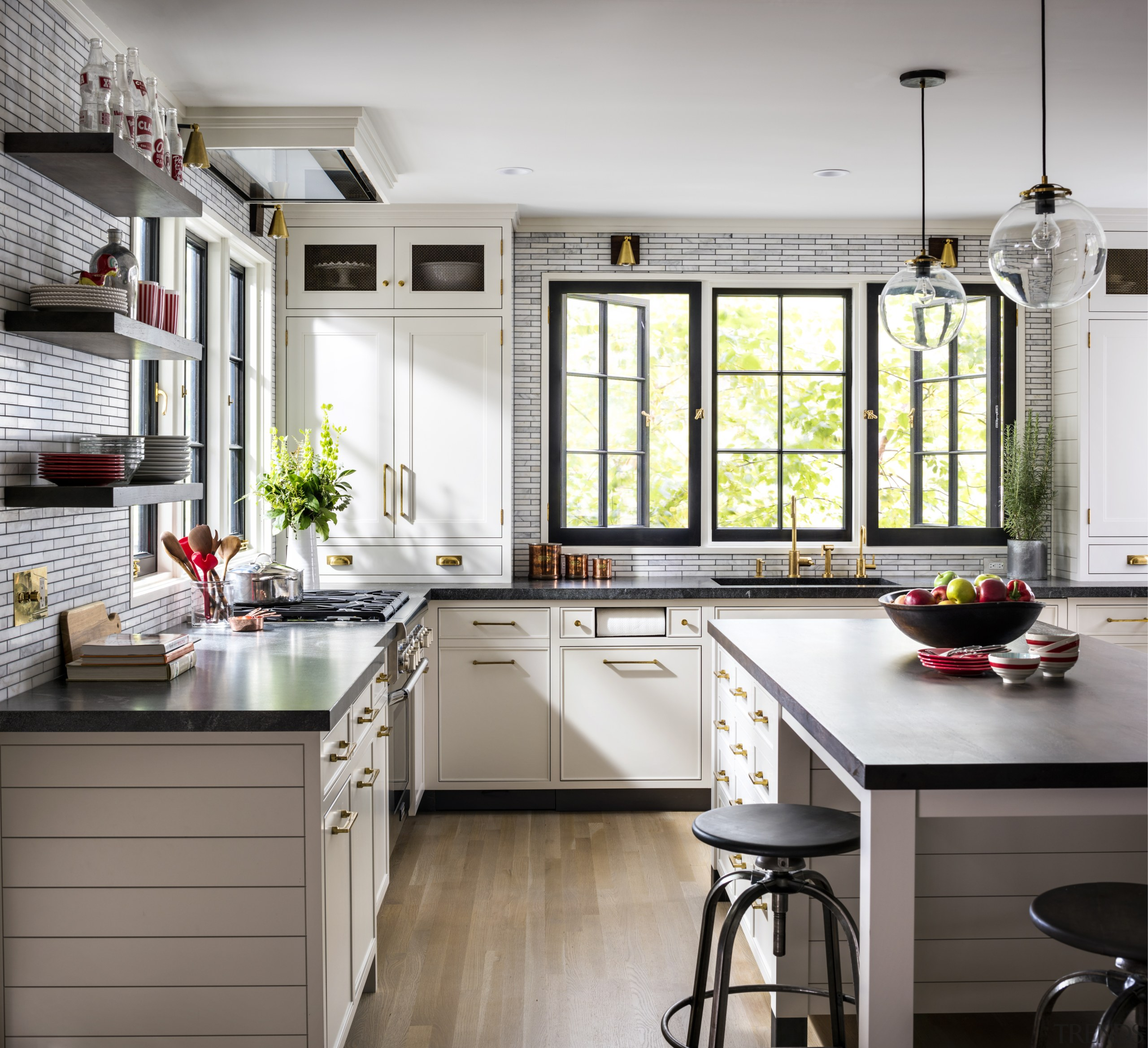 For this project, designer Sarah Robertson – also Kitchen, cabinetry, countertop, floor, flooring, furniture, home, house, interior design, kitchen, table, tile, wood flooring, Studio Dearborn