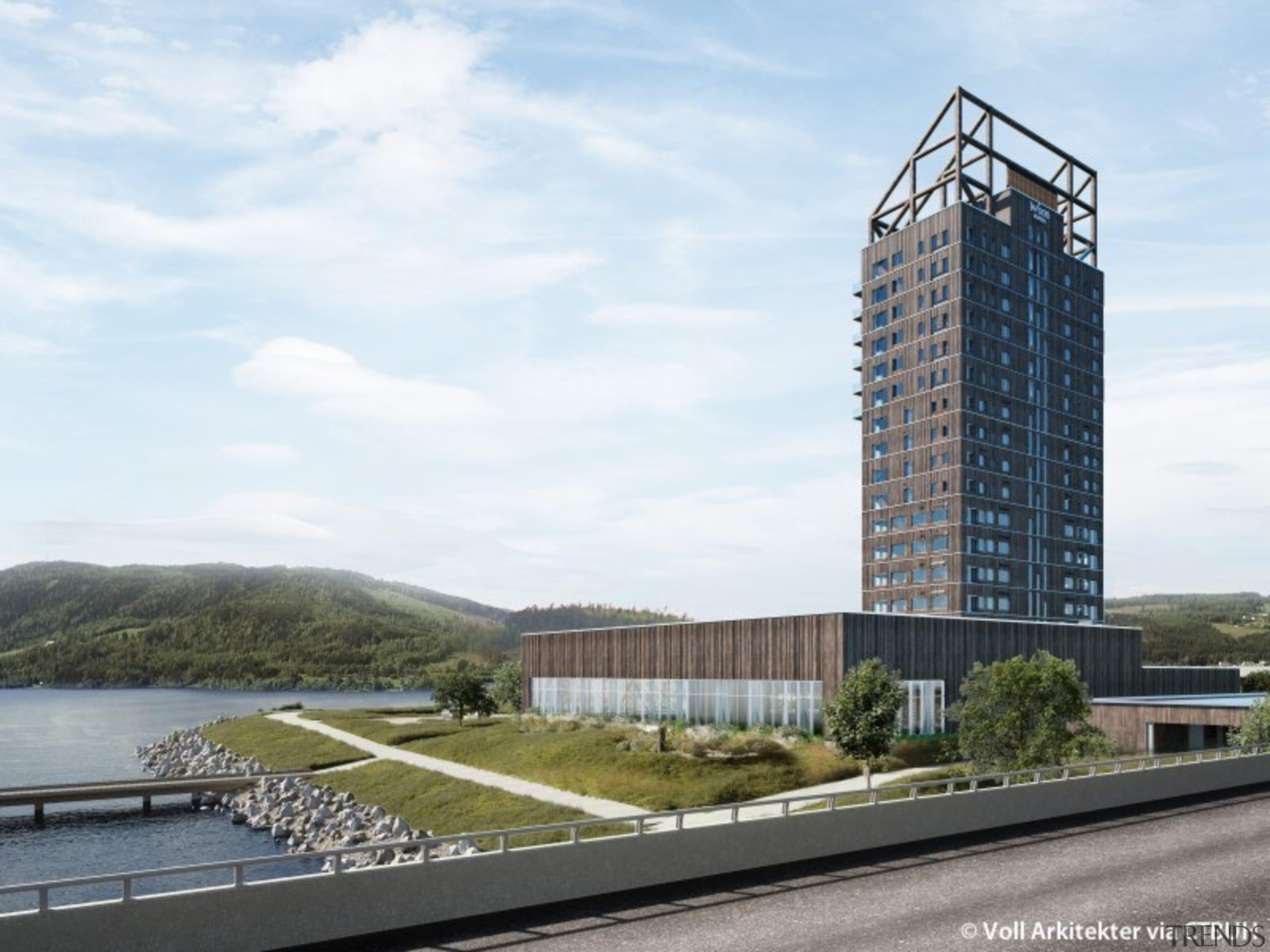 Mjøstårnet is appropriately located in an area of architecture, building, city, condominium, corporate headquarters, headquarters, landmark, metropolitan area, mixed-use, real estate, residential area, sky, skyscraper, tower, tower block, urban design, white
