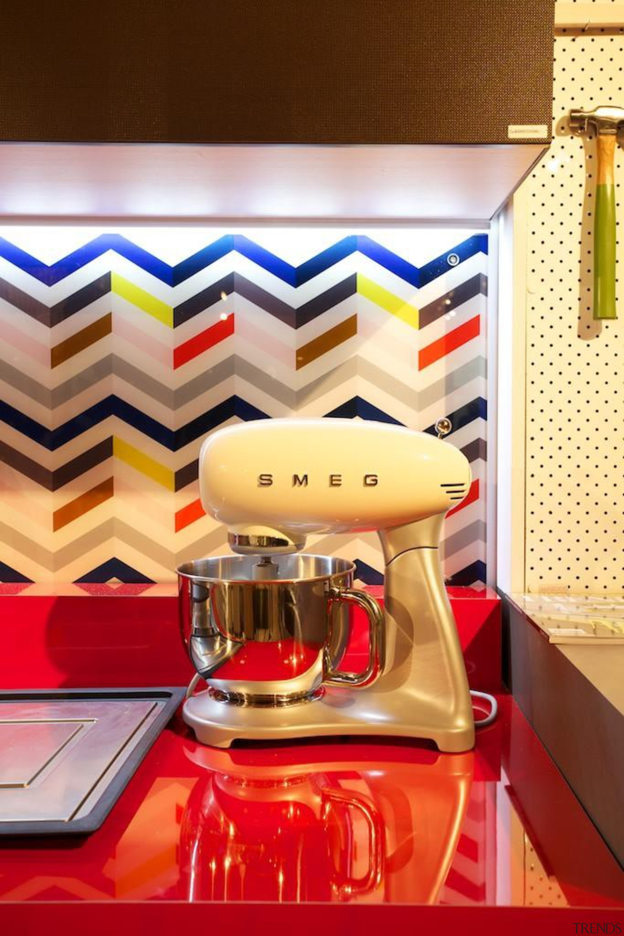 The soon to be released Smeg Small Appliances interior design, product design, table, orange, red