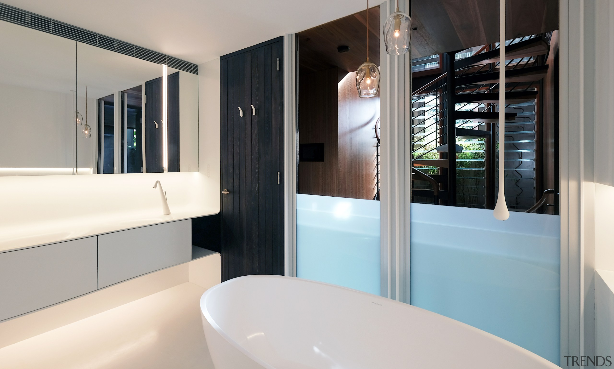 When this bathroom's frameless sash windows are open, architecture, bathroom, bathtub, building, floor, furniture, home, house, interior design, plumbing fixture, property, real estate, room, sink, tap, gray