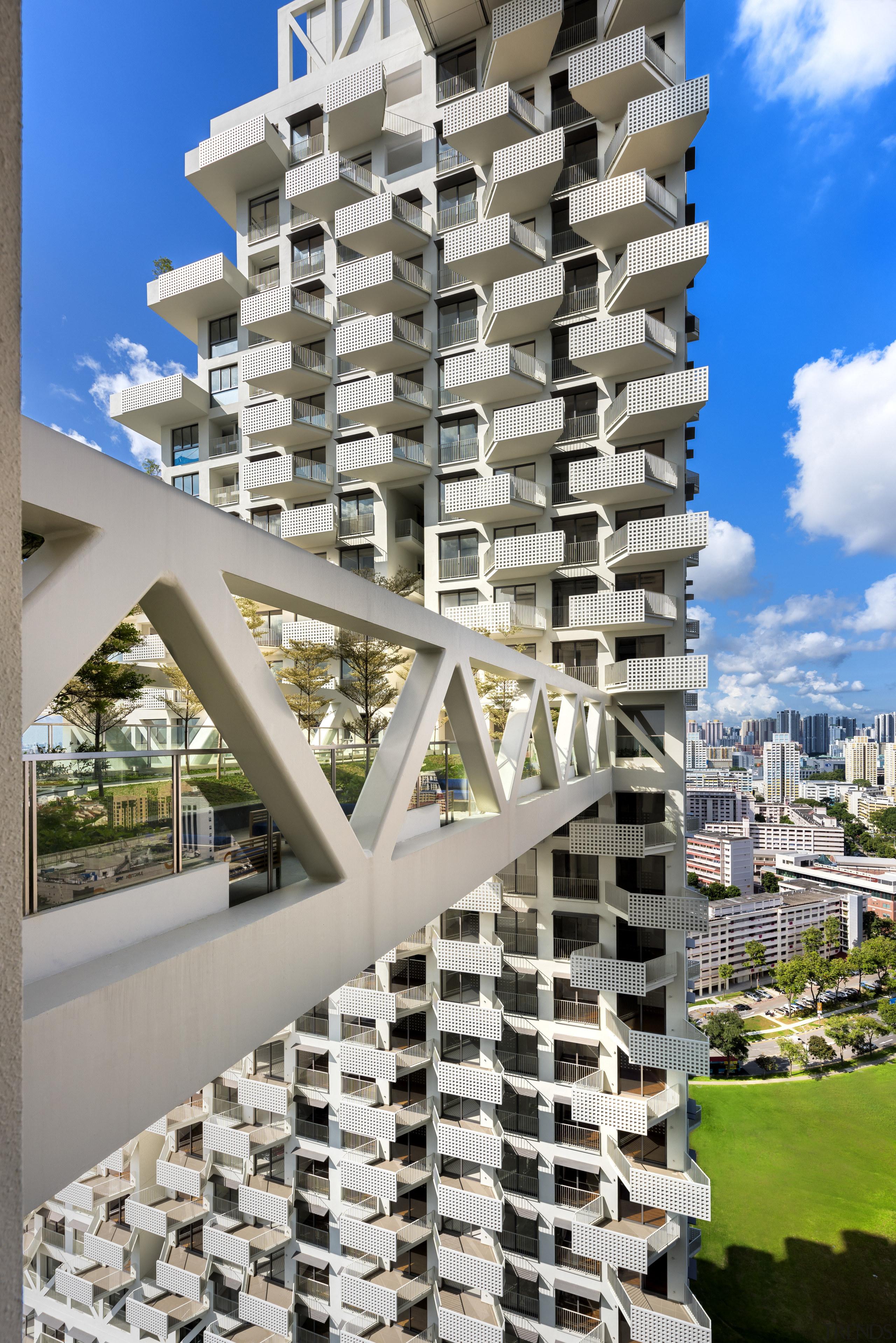 Safdie Architects design of Sky Habitat maximises views apartment, architecture, building, condominium, facade, metropolis, mixed use, property, real estate, residential area, sky, skyscraper, tower block, gray
