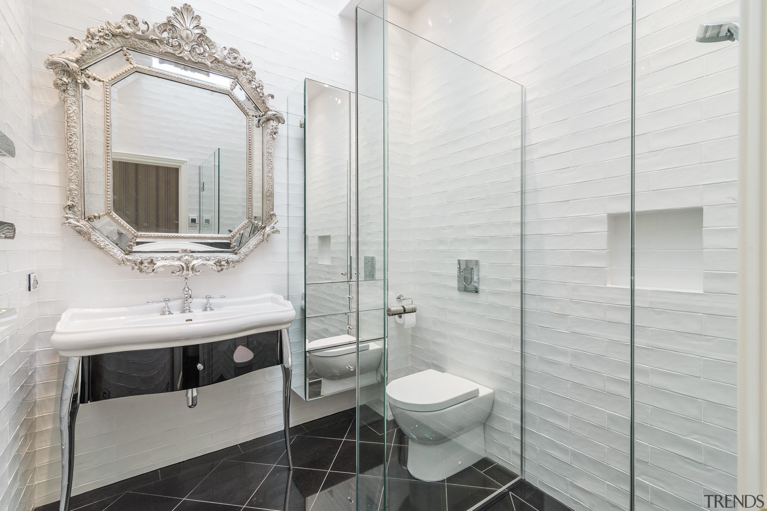 Emma Morris of Eterno Design - Winner of bathroom, bathroom accessory, floor, home, interior design, room, tile, white, gray
