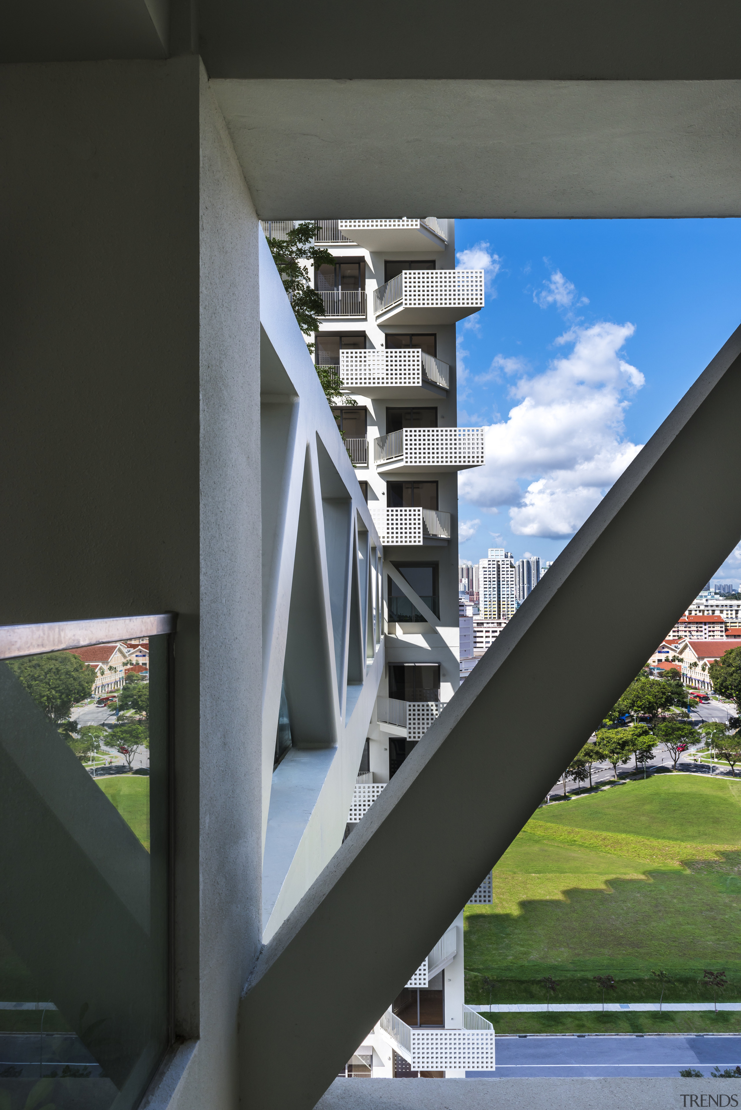 While the stepped structure, large balconies and sky architecture, building, daylighting, facade, fixed link, glass, sky, stairs, structure, black