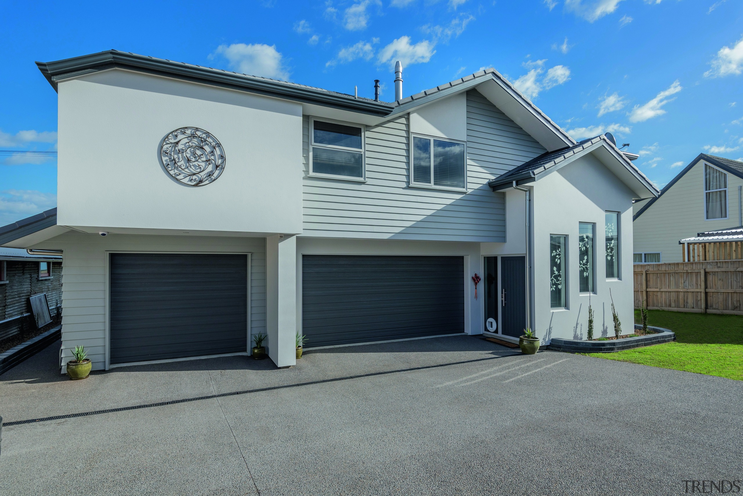 ​​​​​​​Designed for an active life, this riverside home building, facade, home, house, property, siding, window, rural home,  two story, fowler Homes Palmerston North, Riverside, New home builder