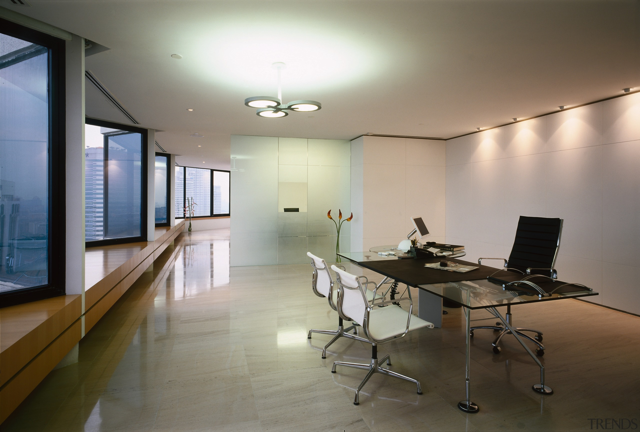 View of a office, marble and limestone floor, architecture, ceiling, conference hall, daylighting, floor, flooring, house, interior design, office, real estate, room, table, gray, brown