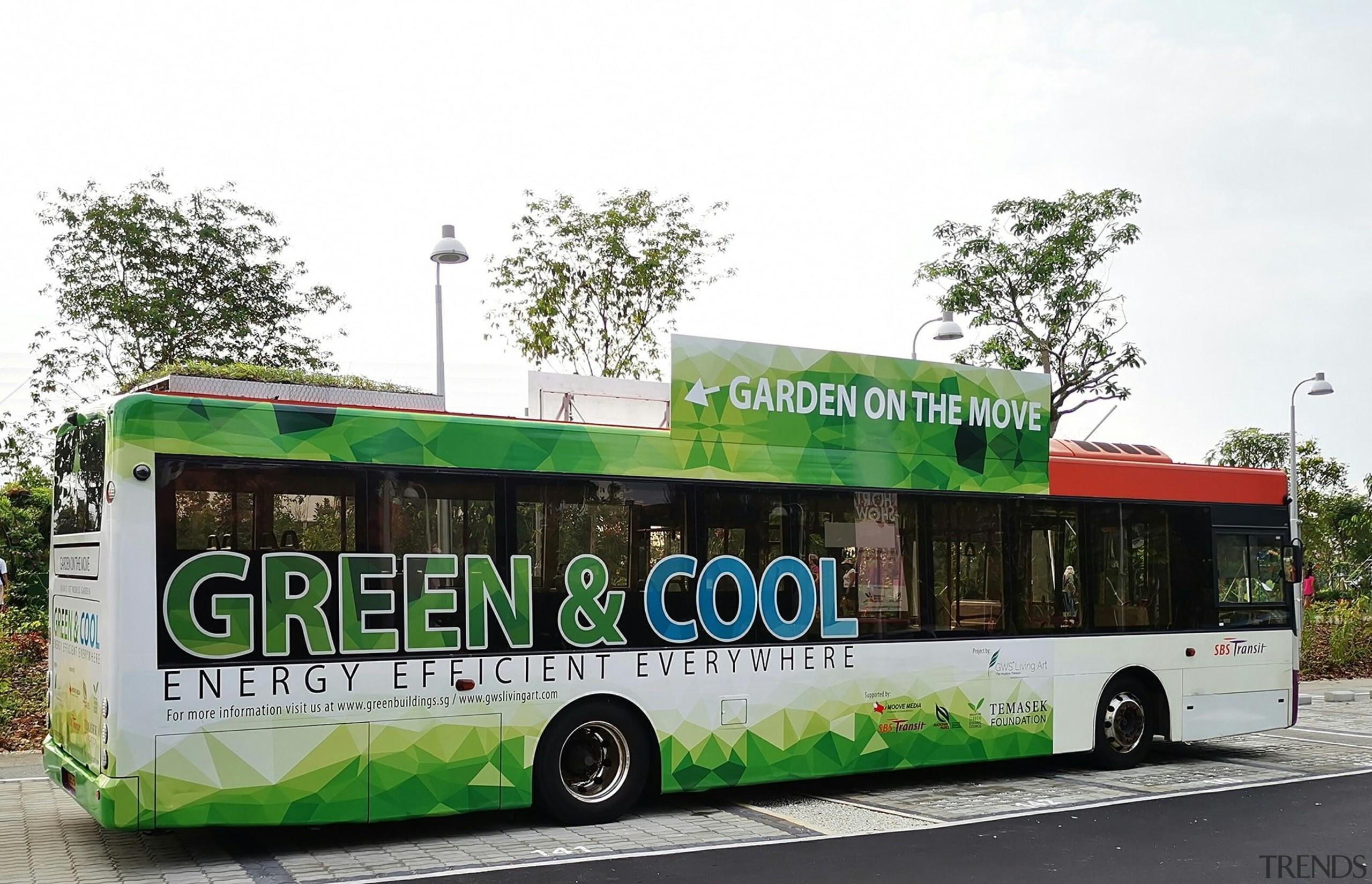 Singapore green-roofed bus initiative - bus | car bus, car, double-decker bus, mode of transport, motor vehicle, public transport, tour bus service, transport, vehicle, white