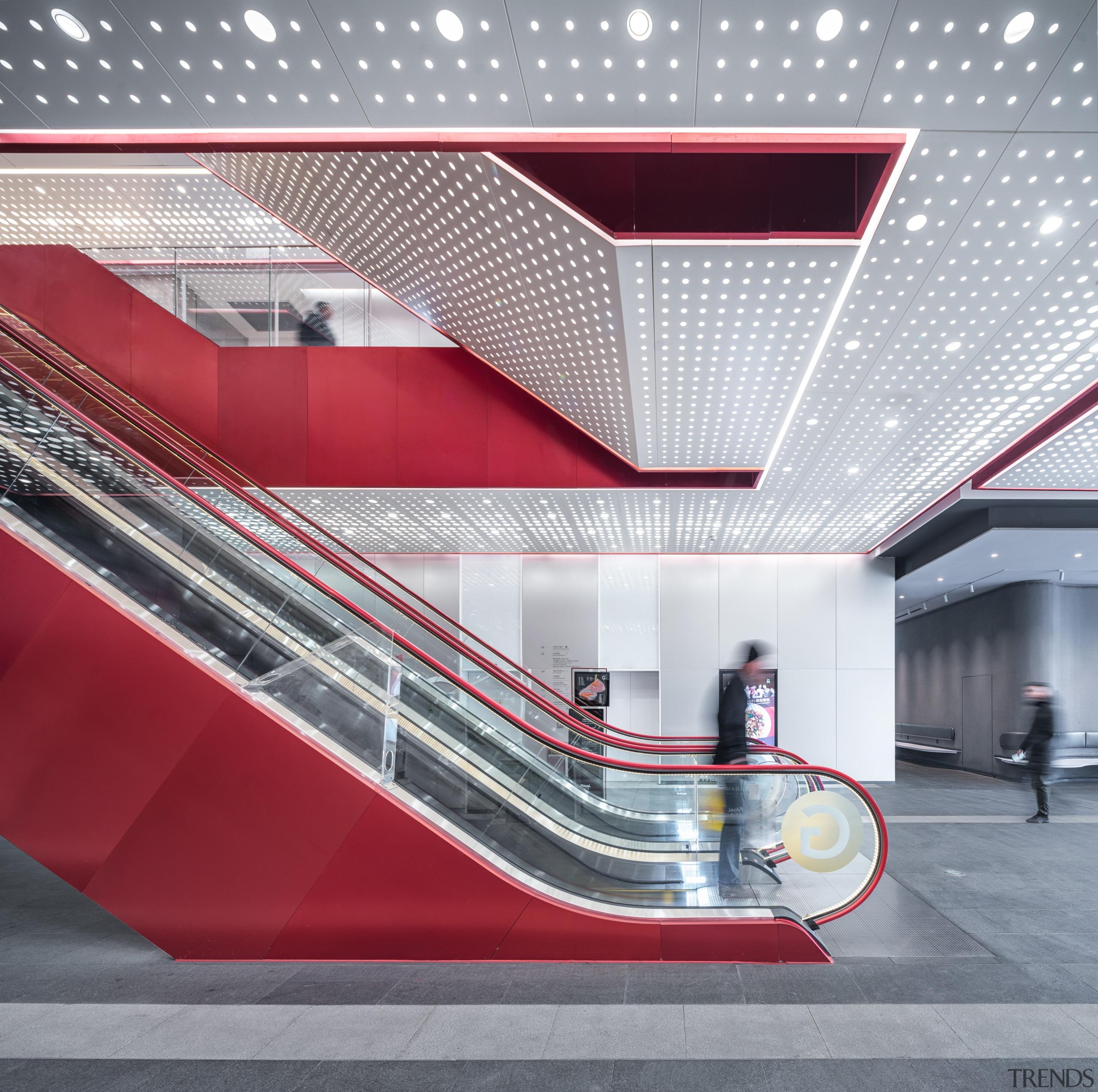 Shanghai's Shimao Festival City mall has high-profile escalators architecture, building, escalator, interior design, Shimao Kokaistudios