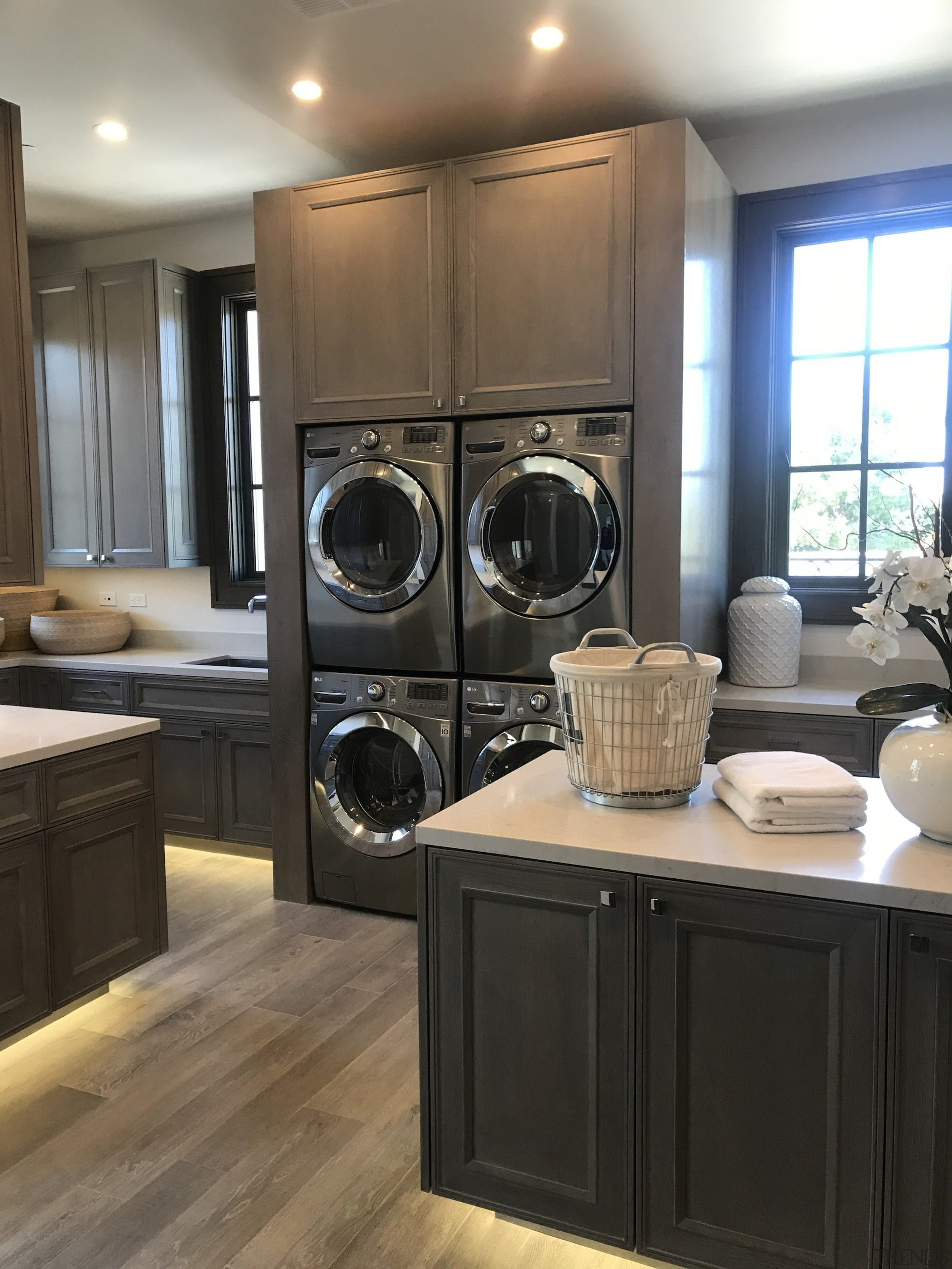 Polselli Laundry - Shanna Kerr - client is cabinetry, countertop, home appliance, interior design, kitchen, laundry, laundry room, major appliance, room, washing machine, black
