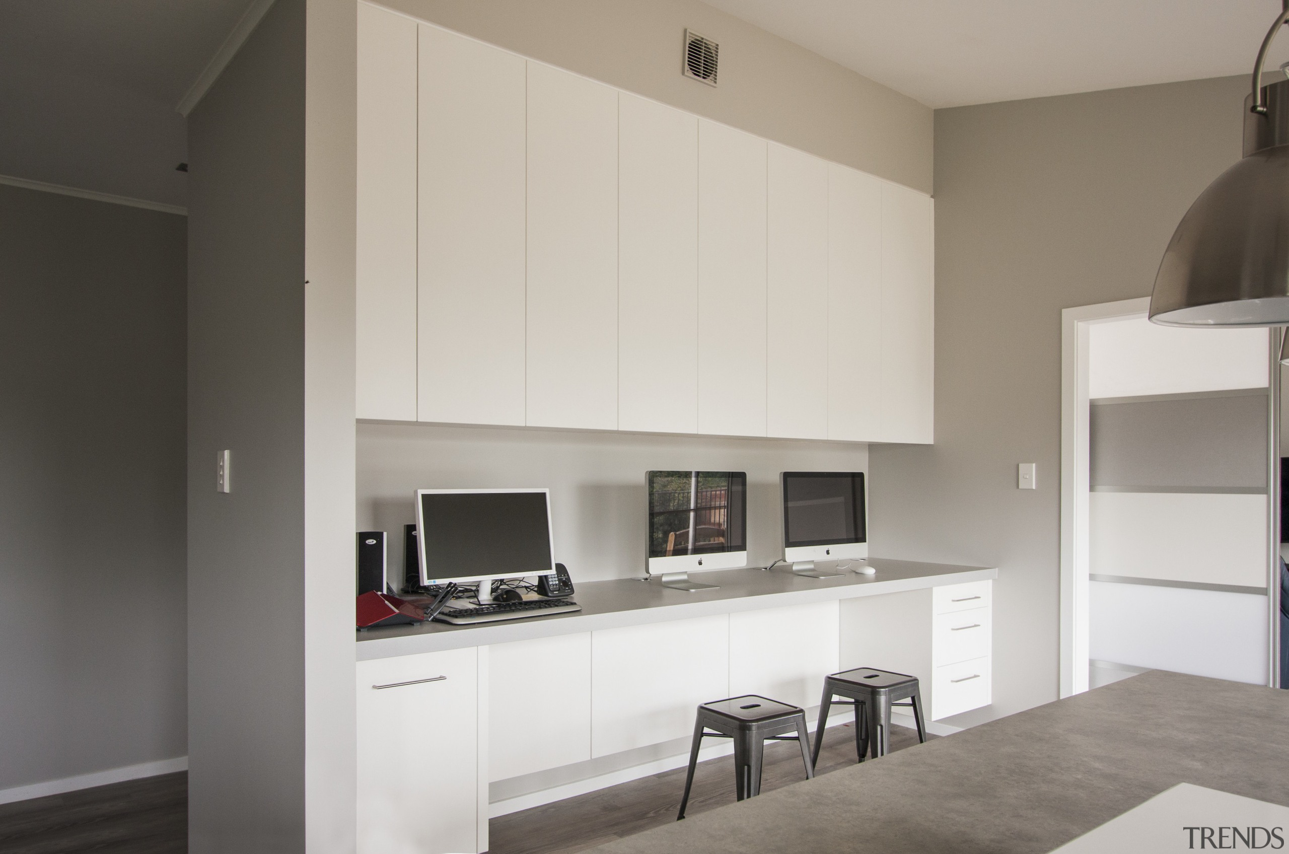 One wall of this kitchen is taken up architecture, cabinetry, interior design, kitchen, real estate, room, gray