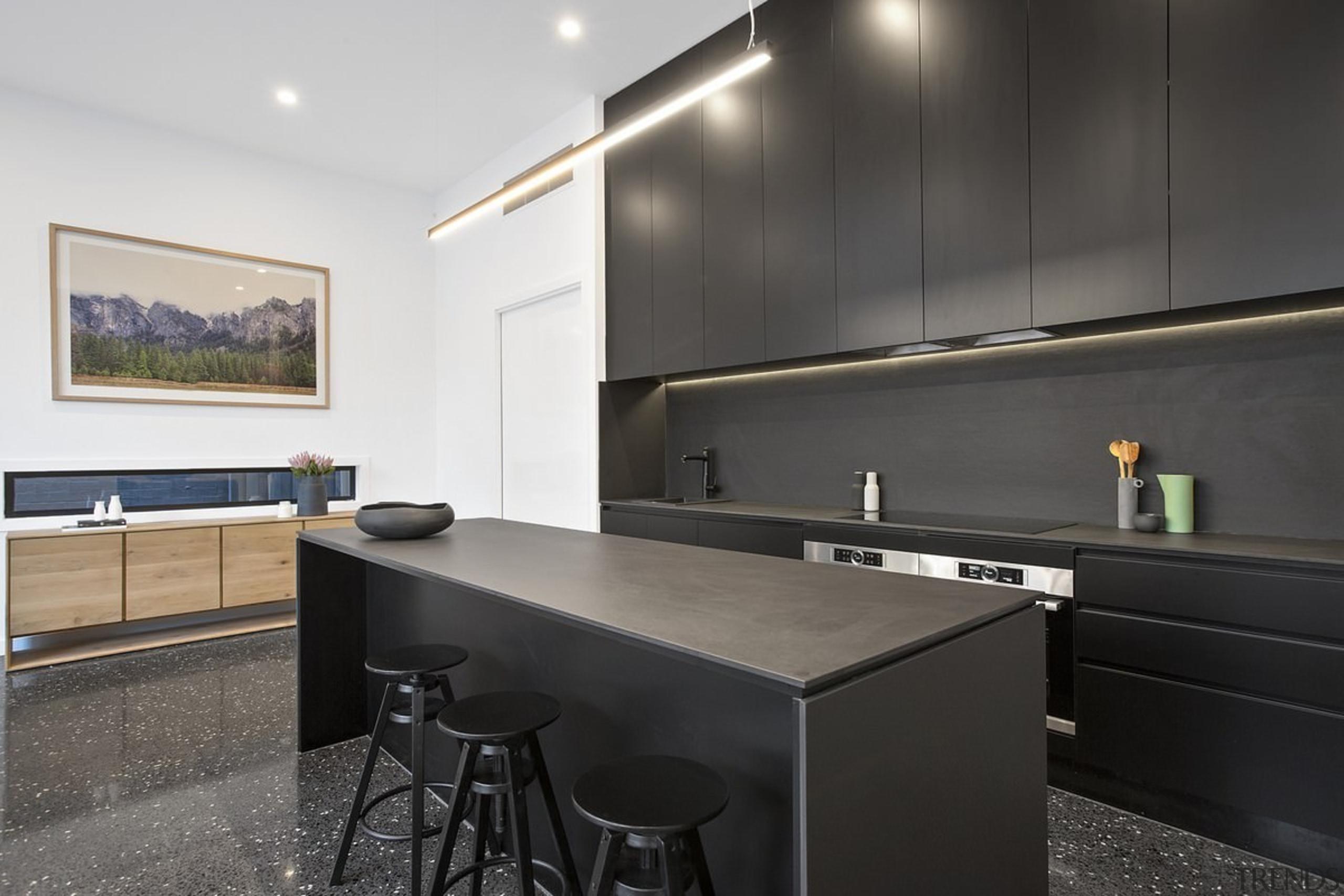 A black kitchen – cabinets and island included architecture, countertop, interior design, kitchen, real estate, black