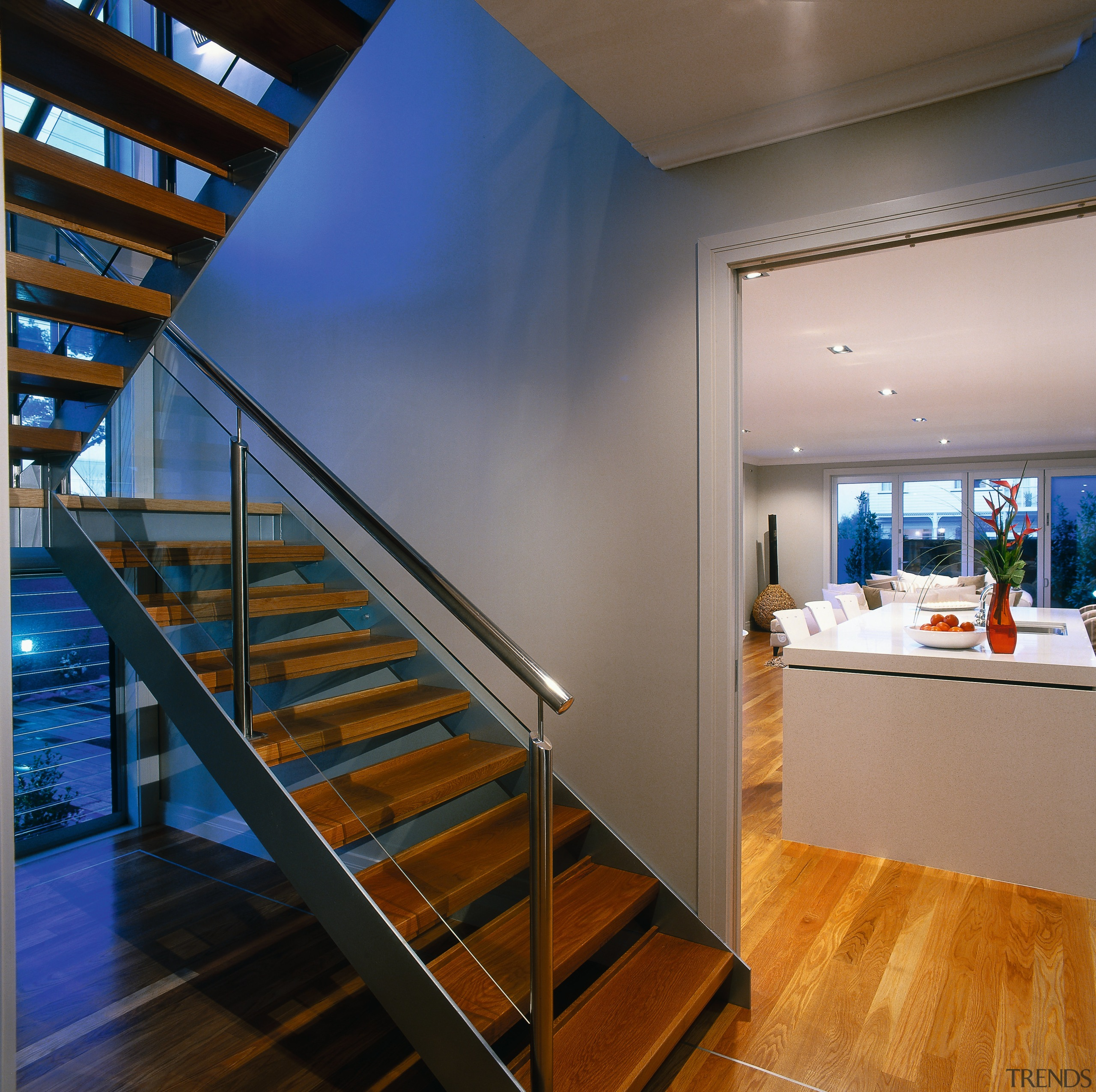 View of the stairway - View of the architecture, ceiling, daylighting, handrail, house, interior design, real estate, stairs, wood