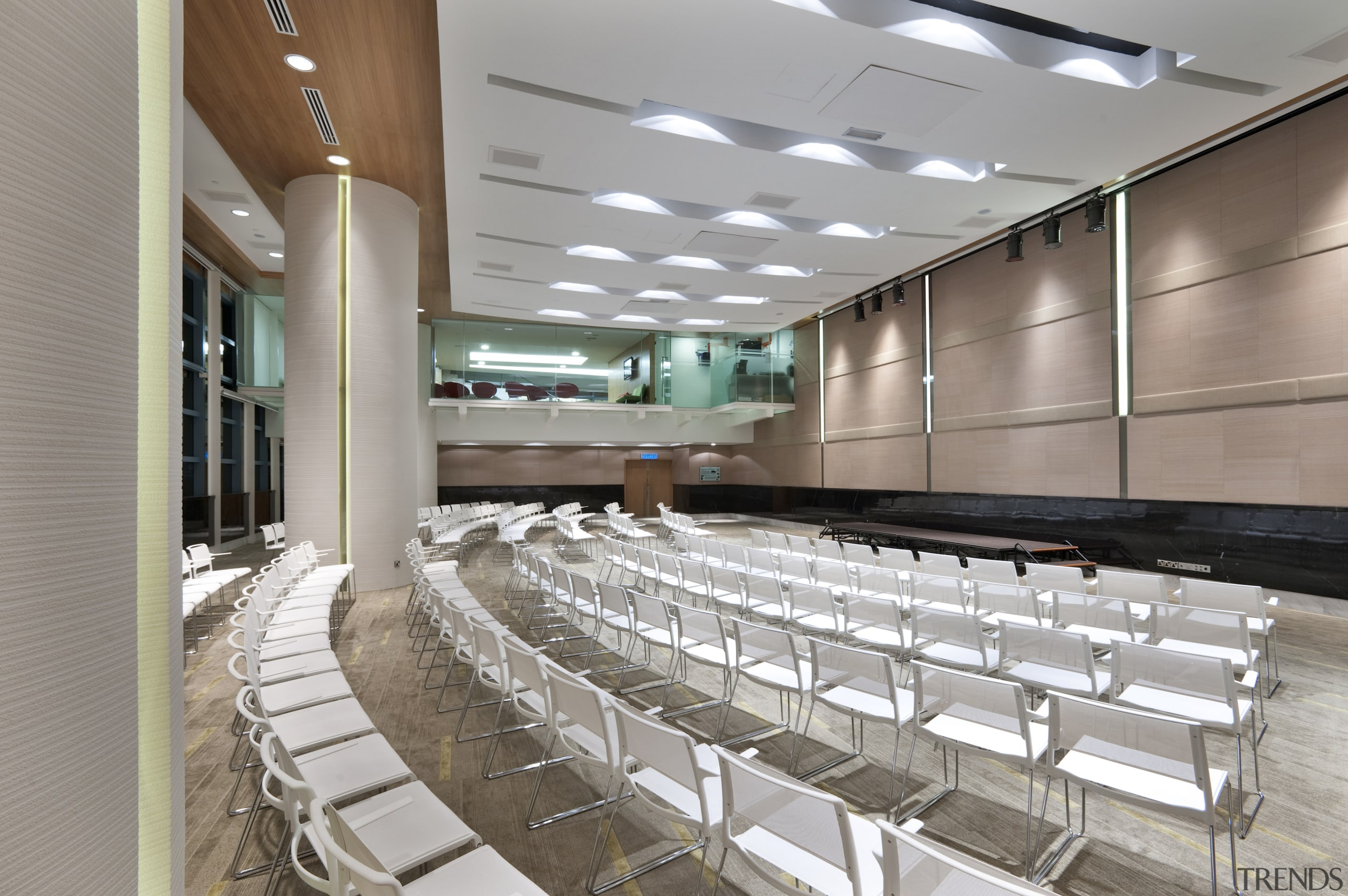 White marble was introduced for the flooring to auditorium, floor, gray