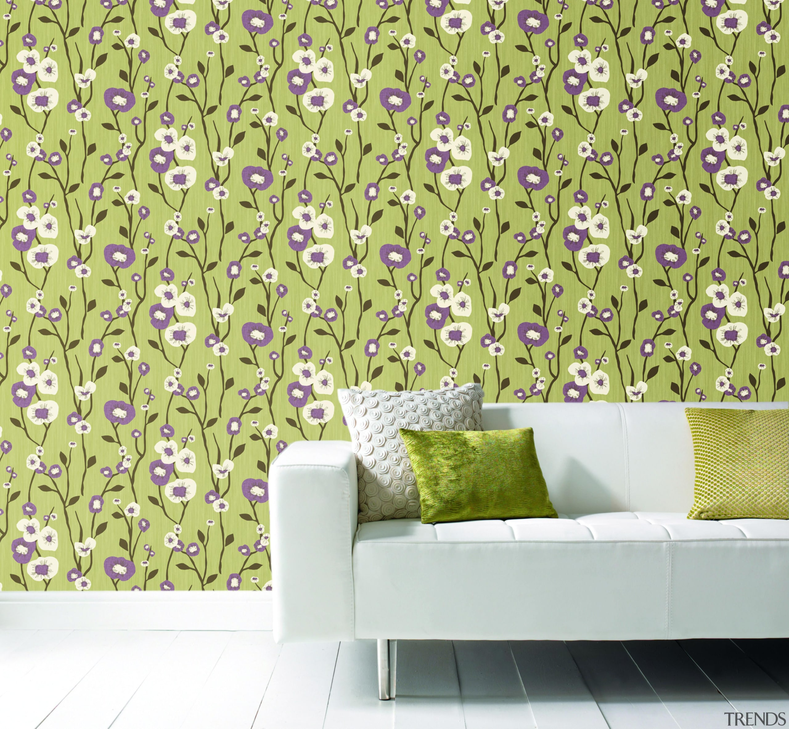 Modern Style Range - Modern Style Range - flora, green, interior design, pattern, purple, wall, wallpaper, yellow, white