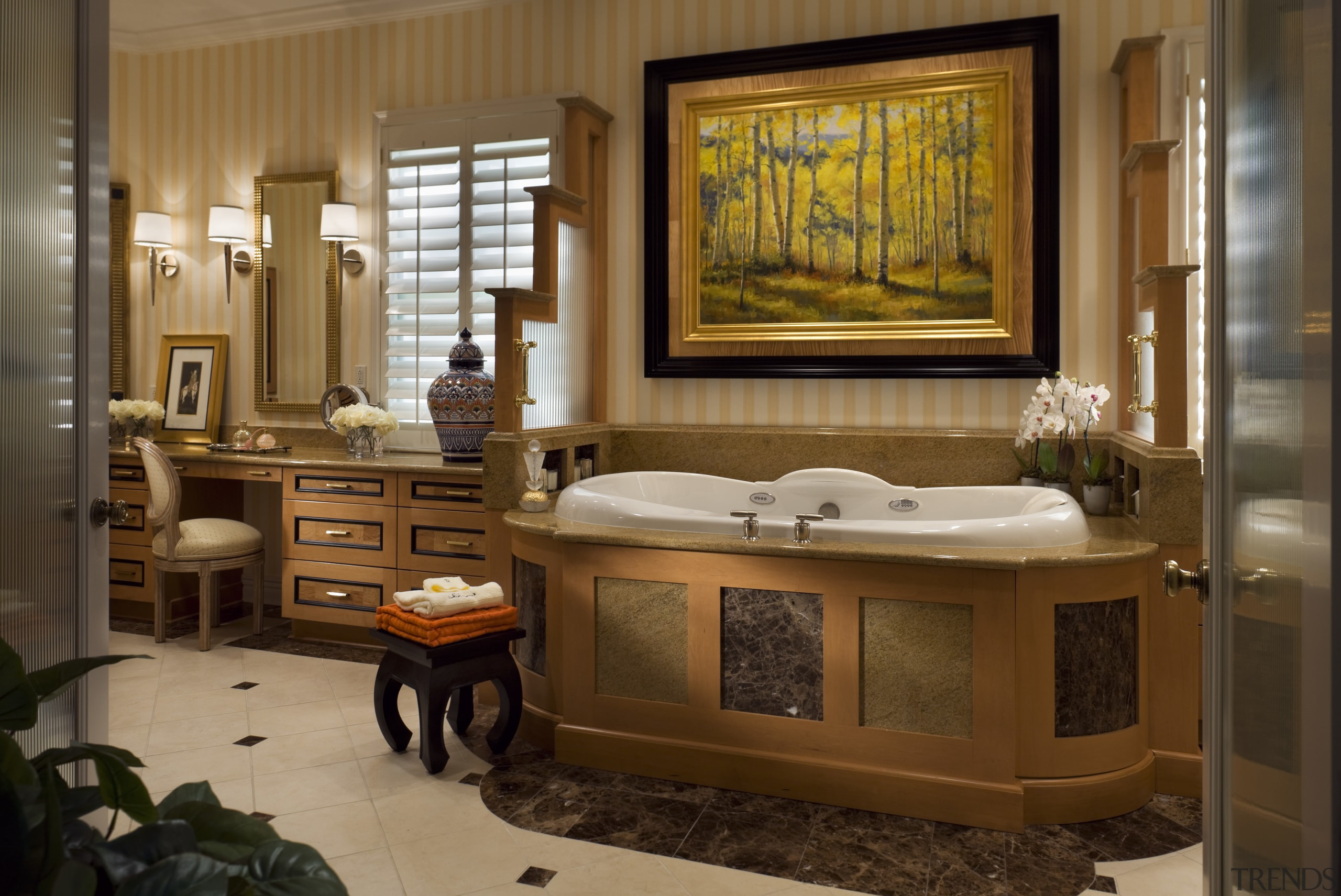 Large bathroom with bathtub & vanity cabinet - bathroom, interior design, room, brown