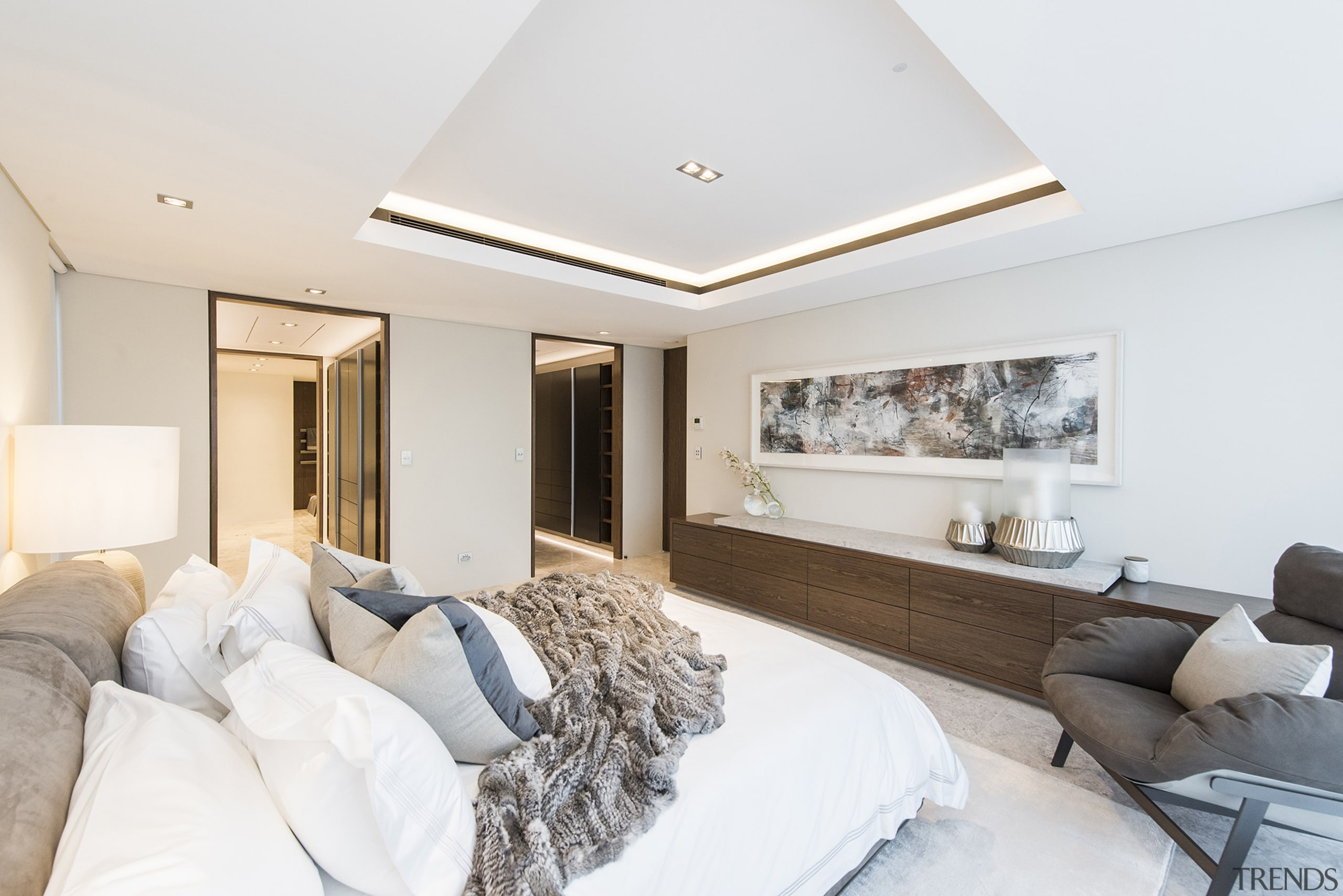 This master bedroom, with dual entries to the ceiling, home, interior design, living room, property, real estate, room, suite, white