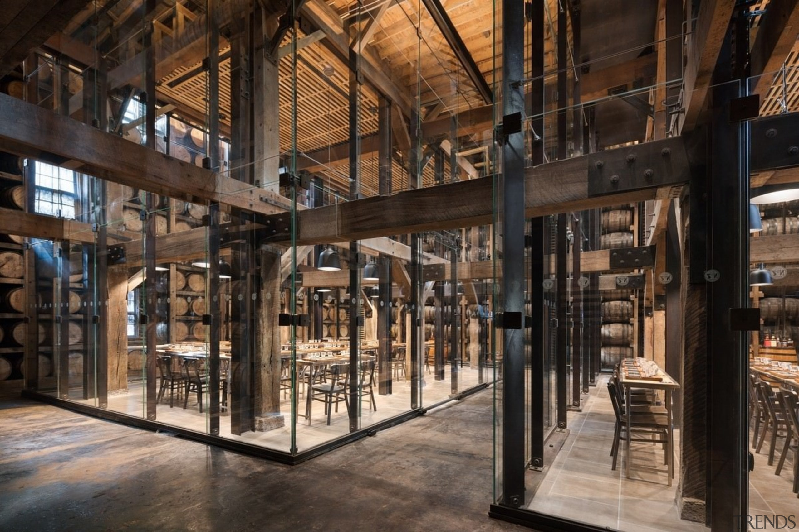 Glazed tasting pavilions within Barrel House 1-14 - tourist attraction, black