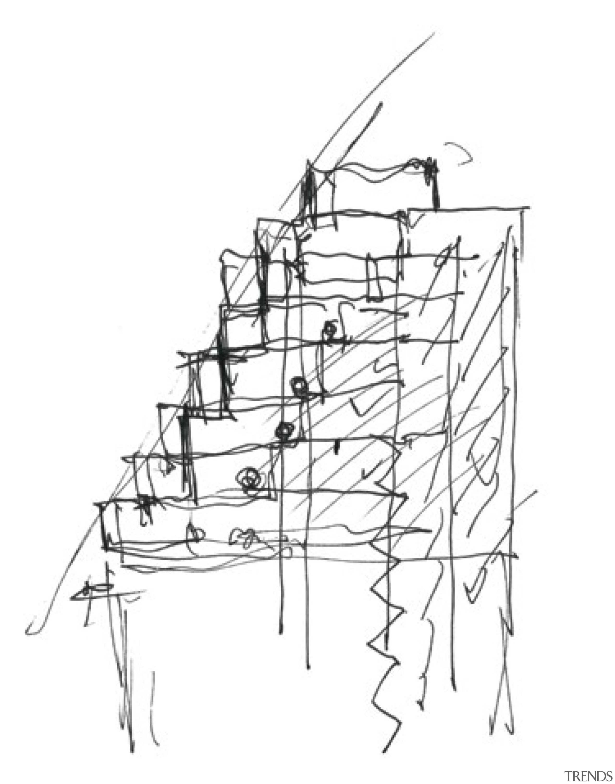 This concept sketch by architect Moshe Safdie shows angle, area, artwork, black and white, drawing, line, line art, product design, sketch, structure, white