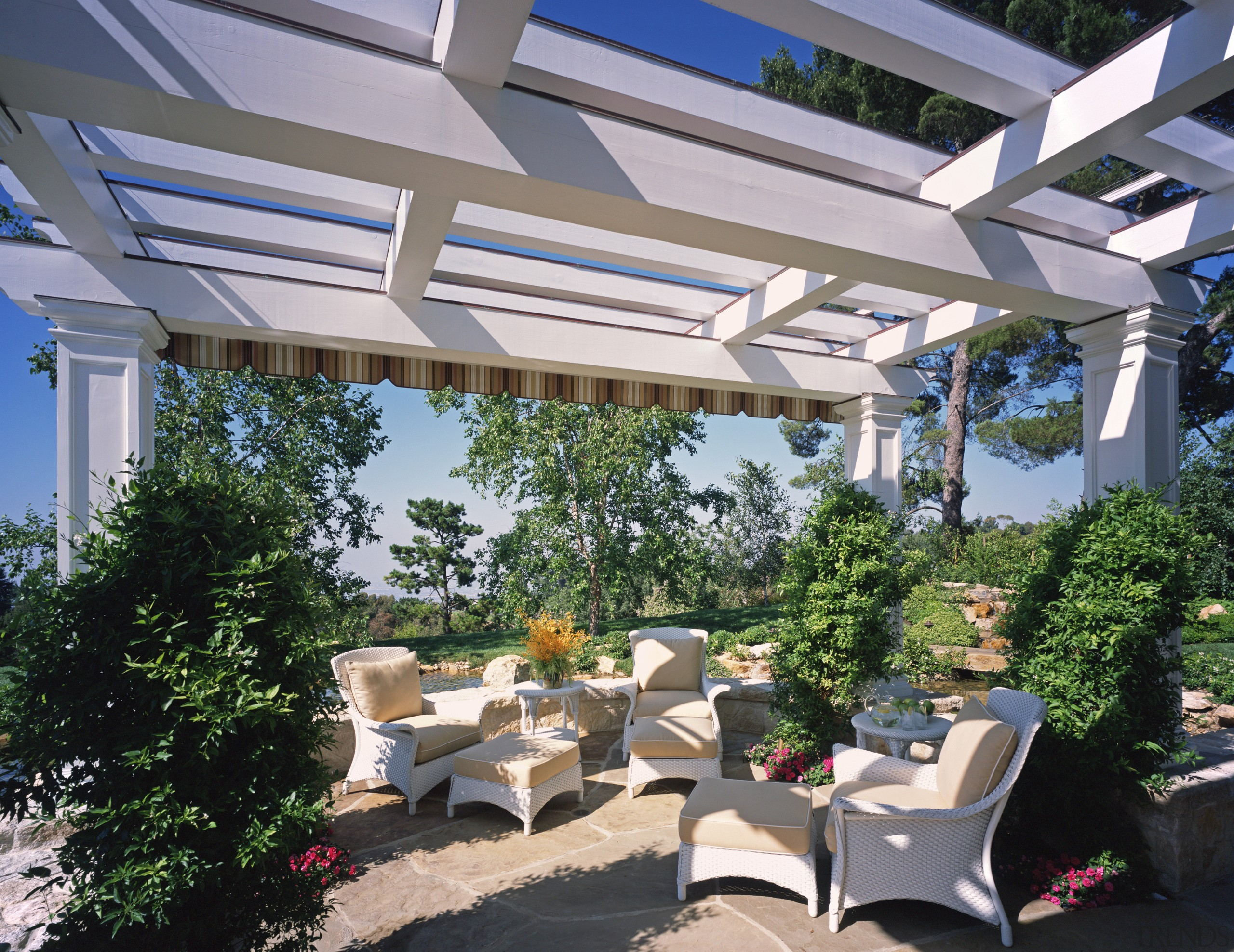 Outdoor living area features pergola & furniture canopy, outdoor structure, patio, pergola, real estate, roof, shade, gray