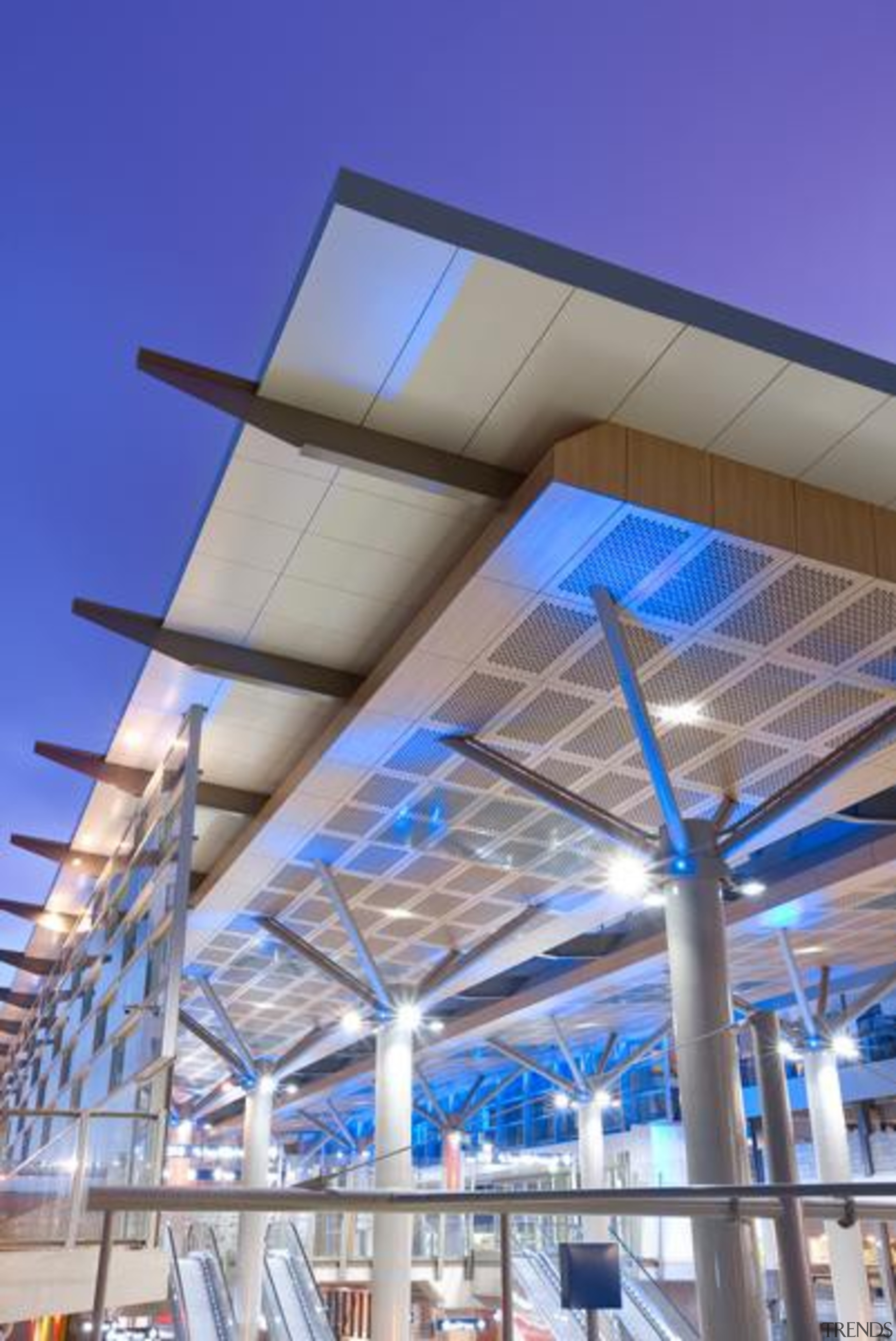 ExoTec Facade Panel - ExoTec Facade Panel - architecture, building, ceiling, commercial building, convention center, corporate headquarters, daylighting, lighting, mixed use, roof, sky, structure, gray, blue