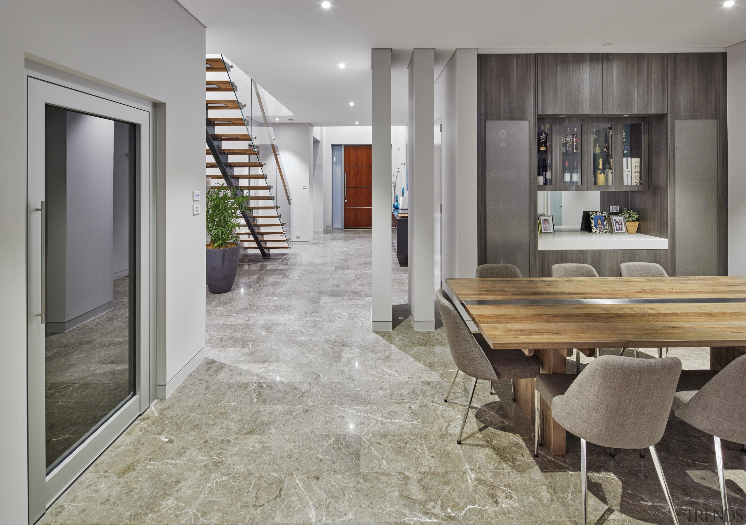 Grand approach  on this house built by floor, flooring, interior design, real estate, wood flooring, gray