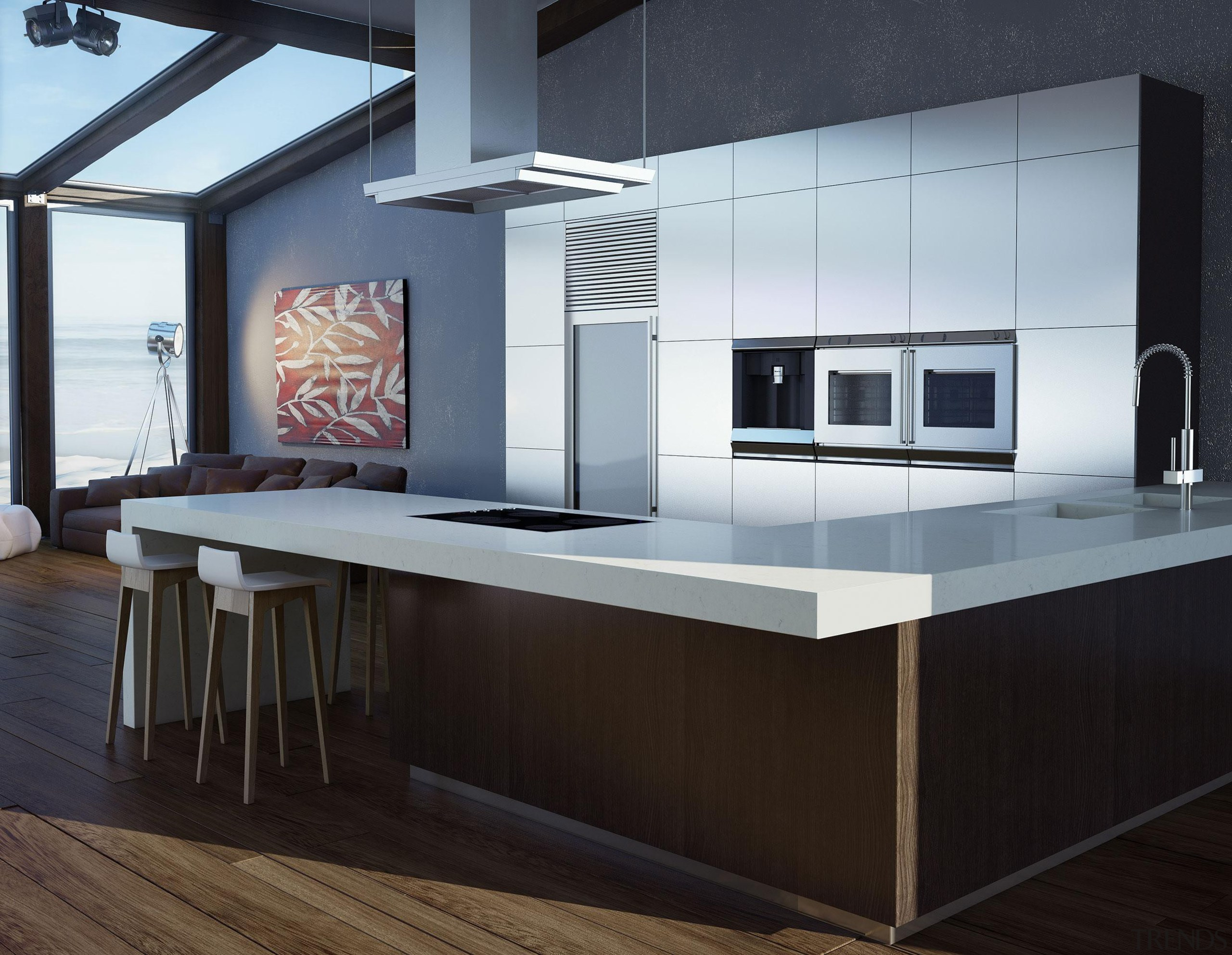 Featuring: Caesarstone Frosty Carrina - Sleek and Modern countertop, floor, furniture, interior design, kitchen, product design, table, black