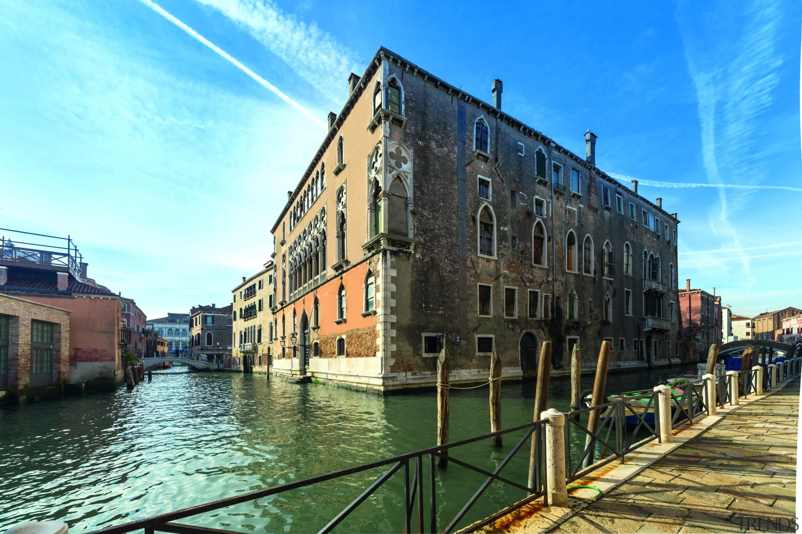 This building is perfectly suited to a conversion building, canal, channel, sky, water transportation, waterway, teal