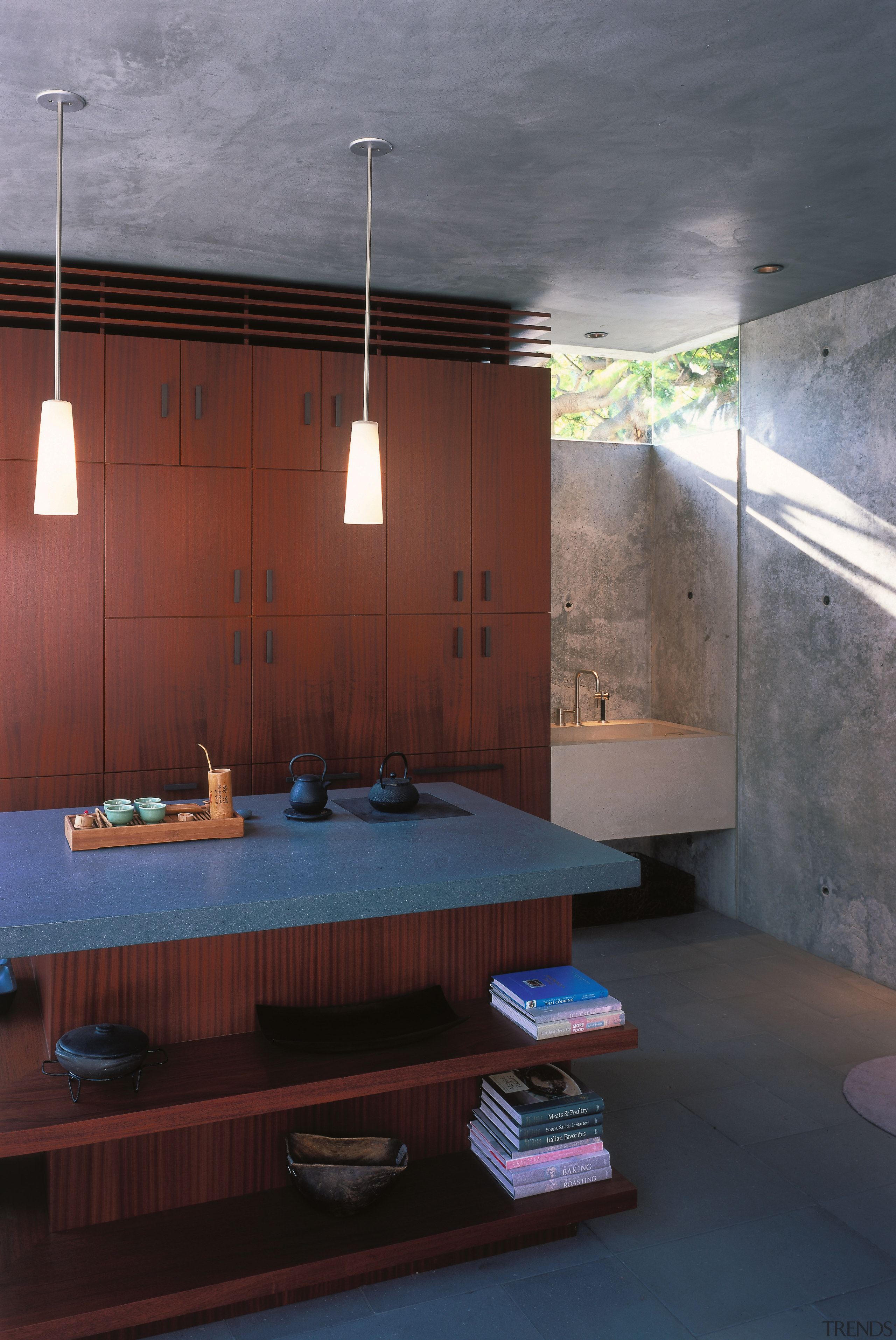 A view of a kitchen by David Hertz architecture, bathroom, ceiling, daylighting, house, interior design, room, black, gray