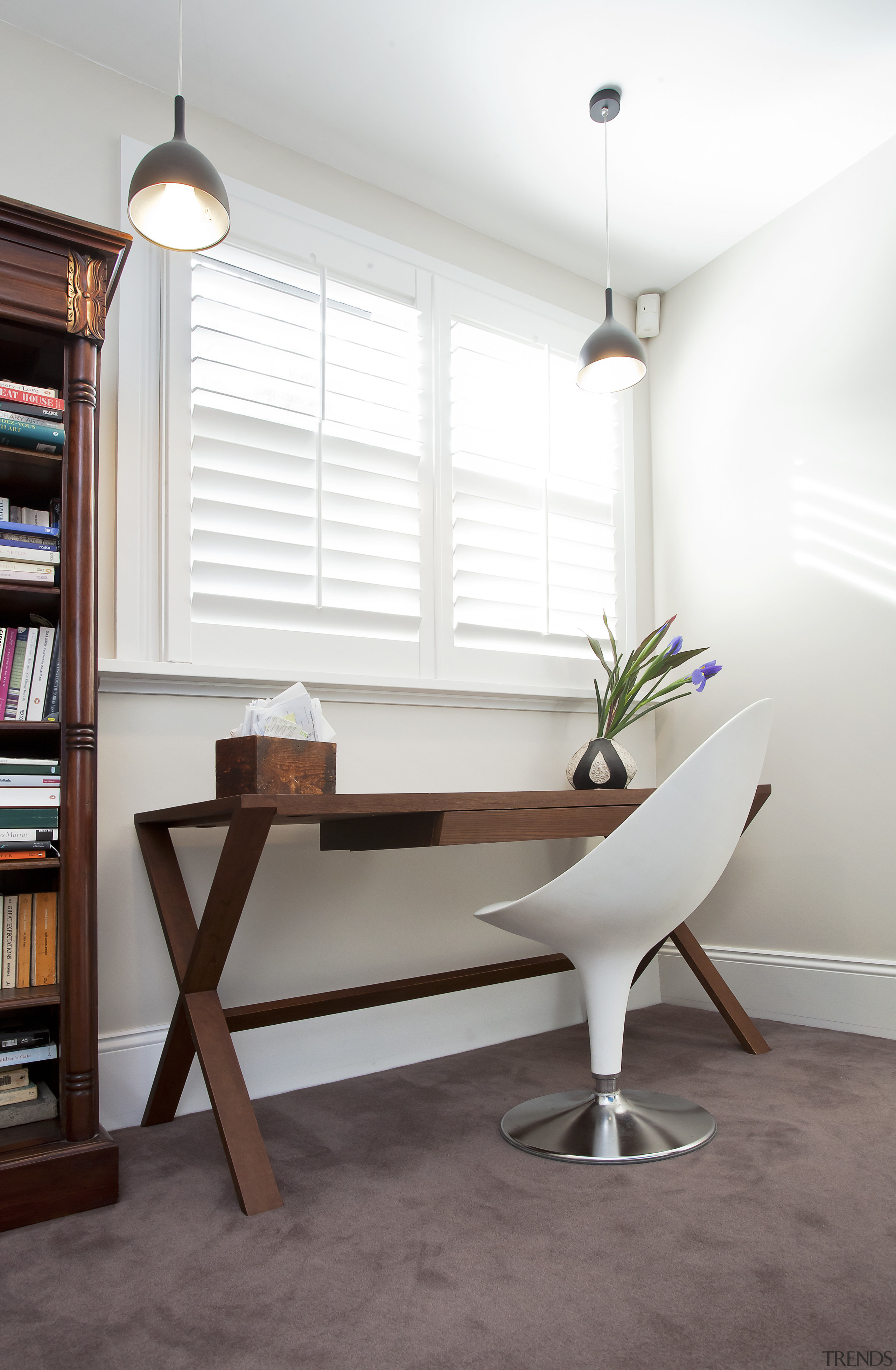 The modest work station in this study is ceiling, chair, desk, floor, furniture, home, interior design, product design, room, table, wall, wood, white, gray