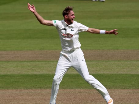Stuart Broad Celebrates at County Championships